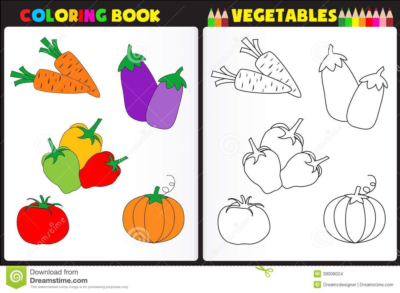 Coloring Book Vegetables Stock Vector Illustration Of