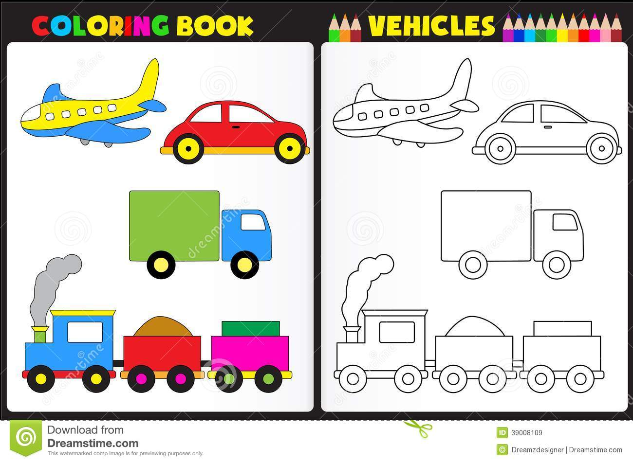 Coloring Book Vehicles Stock Vector Illustration Of