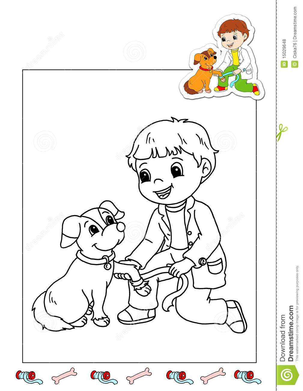 Coloring Book Of The Works 27 Veterinarian Stock