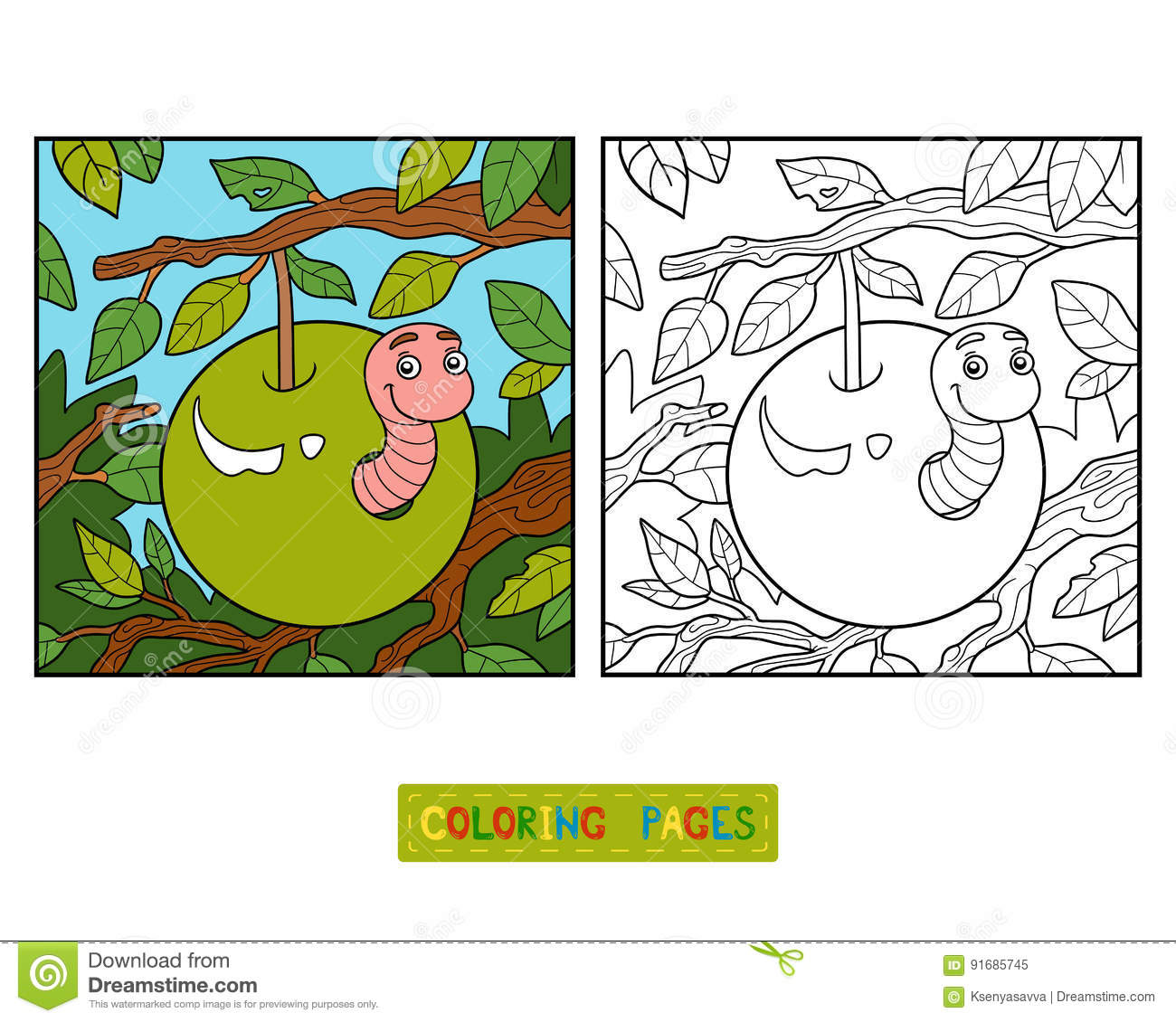 Coloring Book Worm In Apple Stock Vector