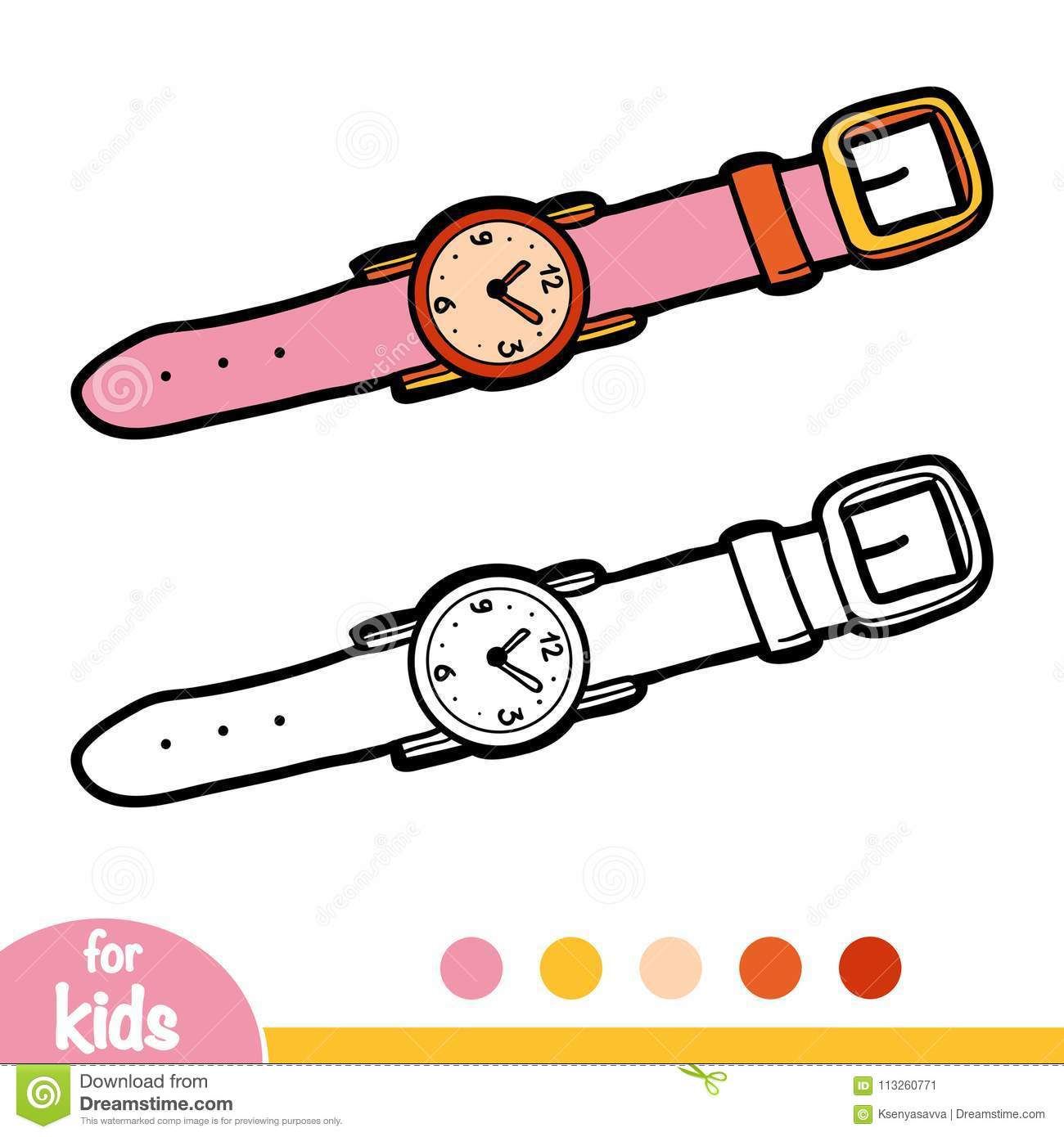 Coloring Book Wrist Watch Stock Vector Illustration Of