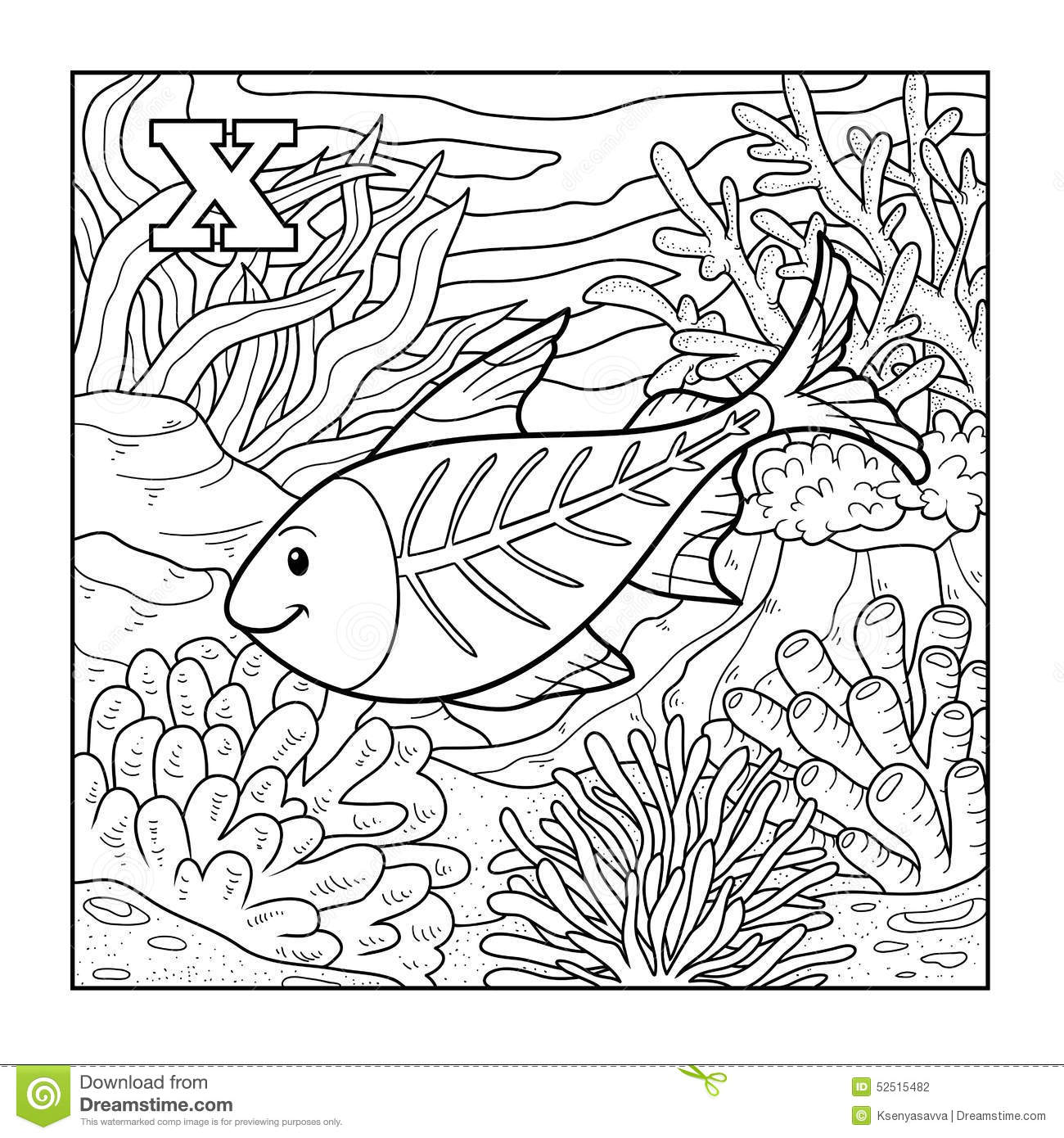 Coloring Book X Ray Fish Illustration Letter X Stock