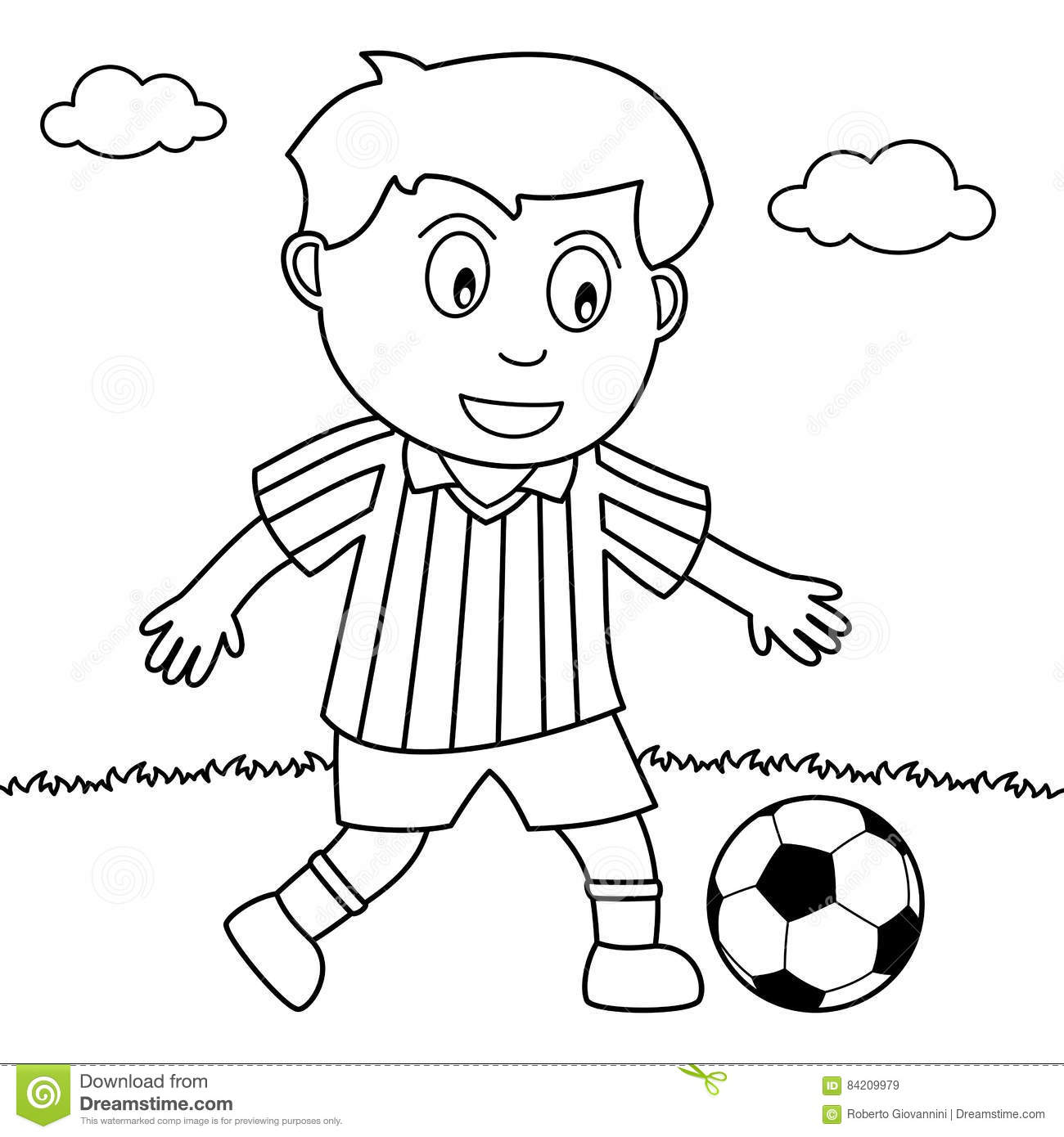 Coloring Boy Playing Soccer In The Park Stock Vector
