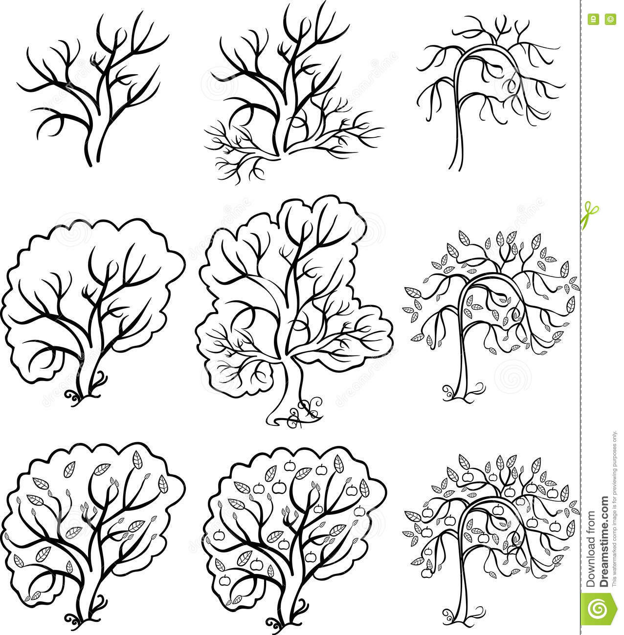 Coloring Bush And Trees An Apple Tree Vector Illustration Stock Vector