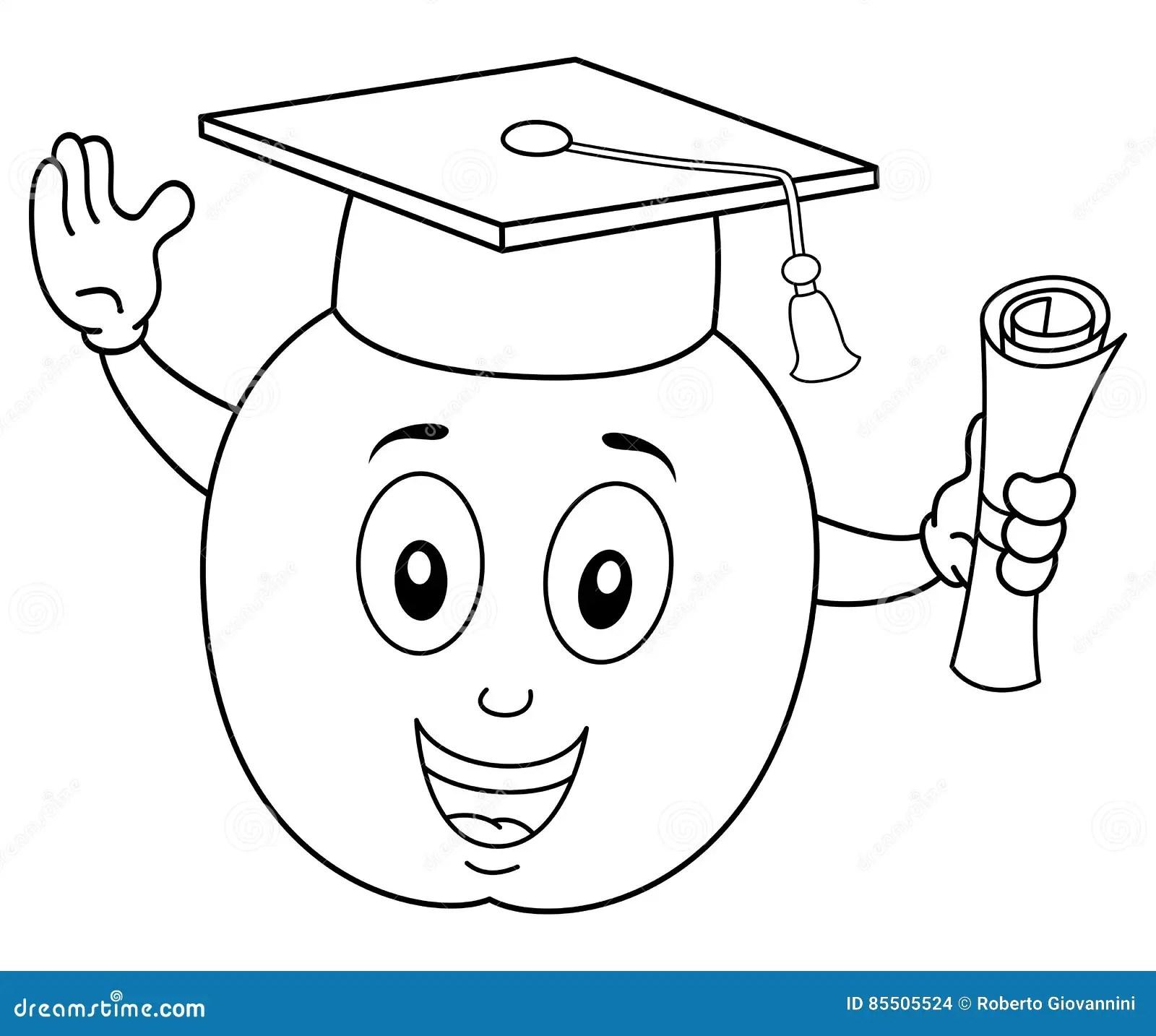 Student Apple Holding A Diploma Cartoon Vector