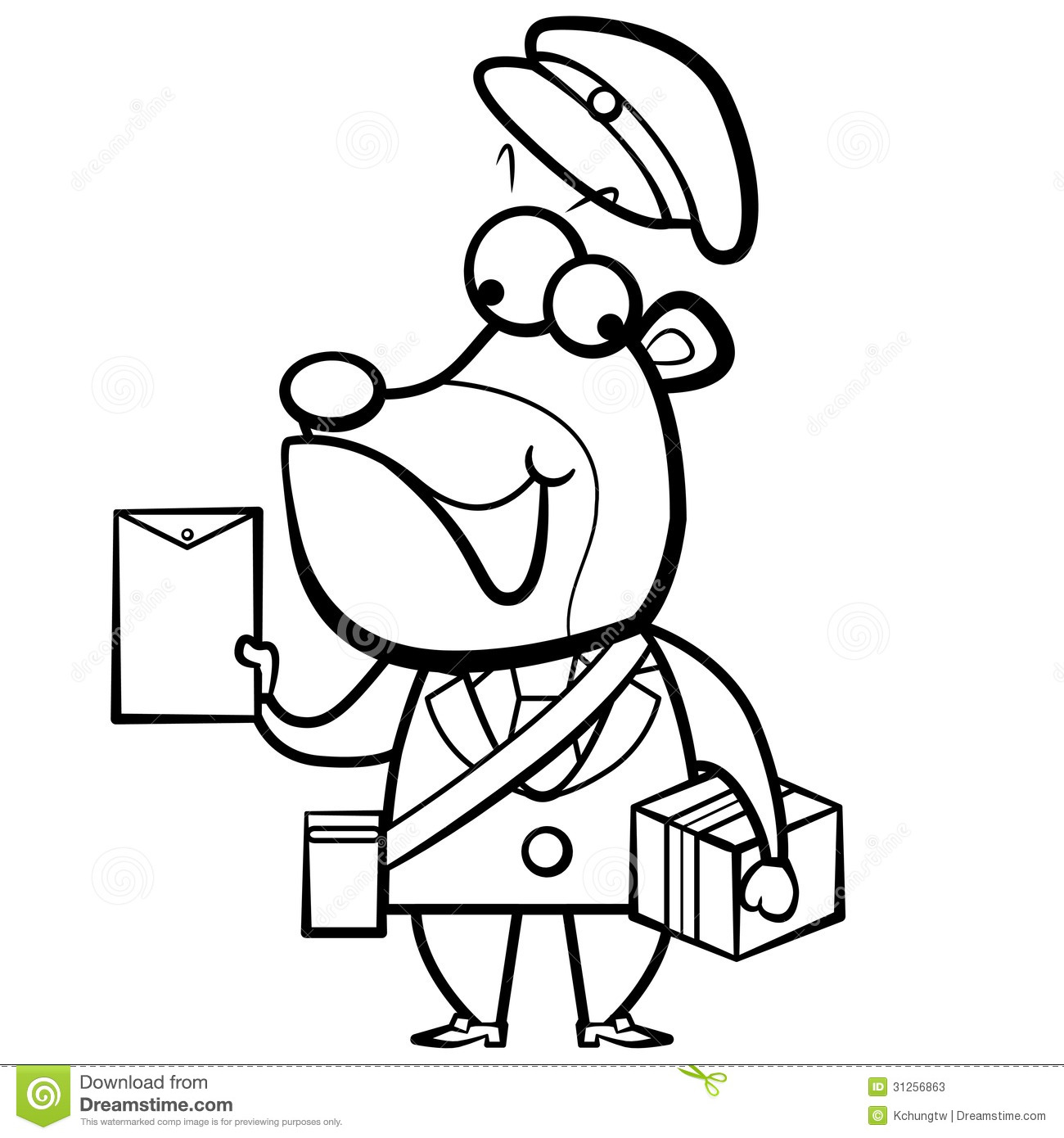 Coloring Cartoon Bear Postman With Letter And Pack Stock