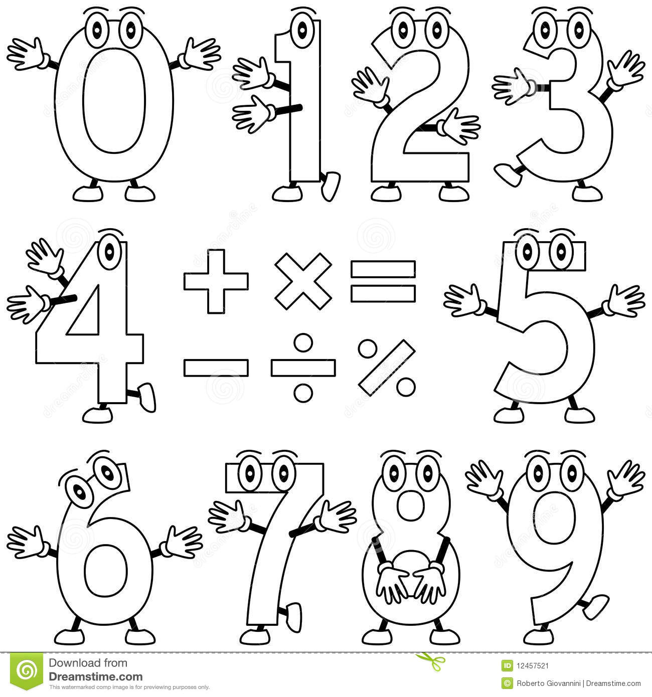 Coloring Cartoon Numbers Stock Vector Illustration Of
