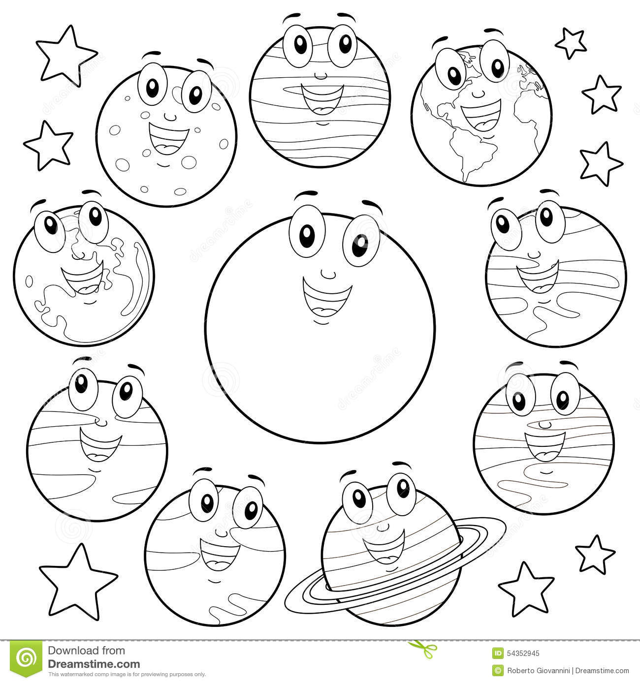 Coloring Cartoon Planets With Sun Amp Moon Stock Vector