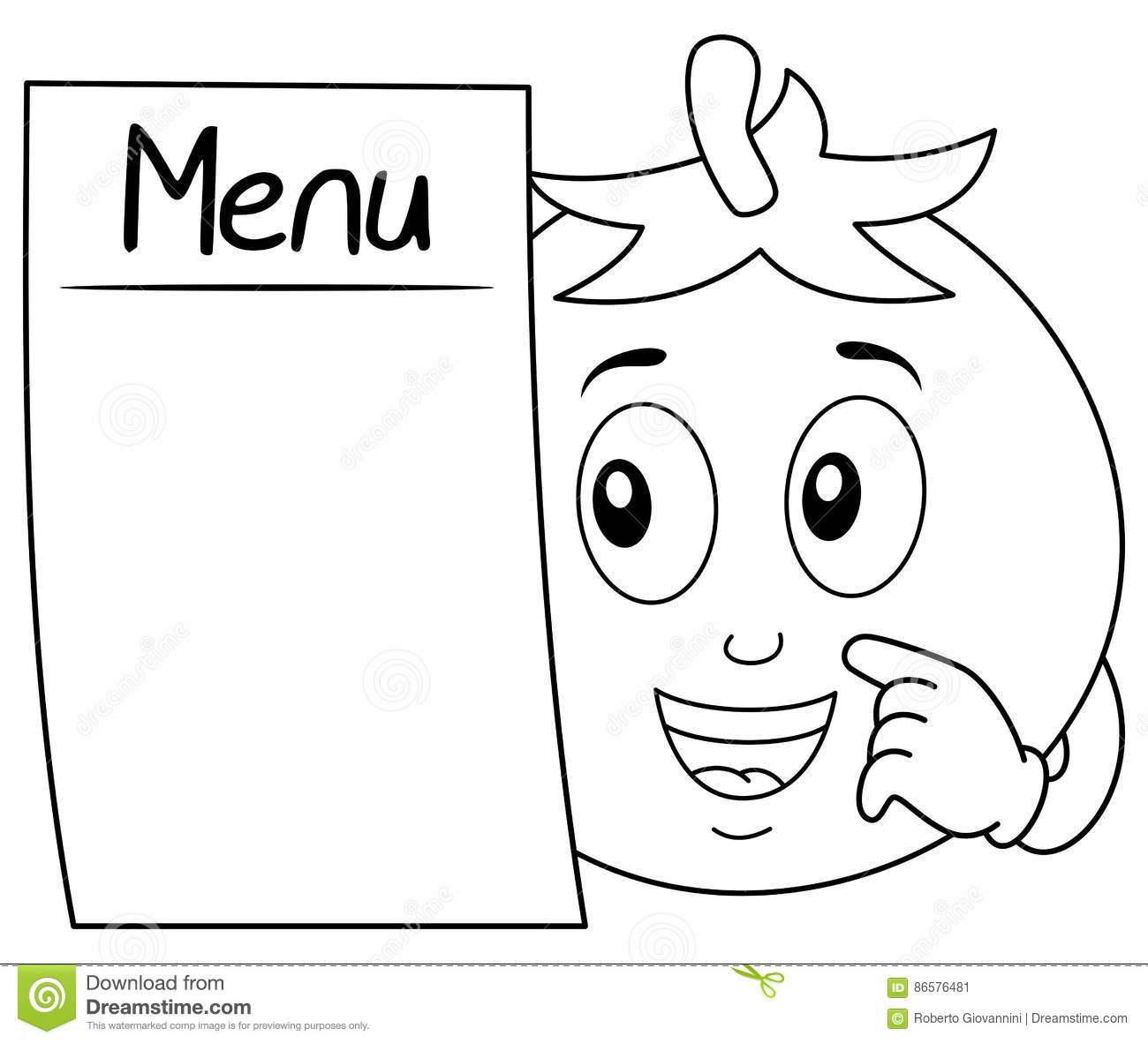 Coloring Cheerful Tomato With Blank Menu Stock Vector