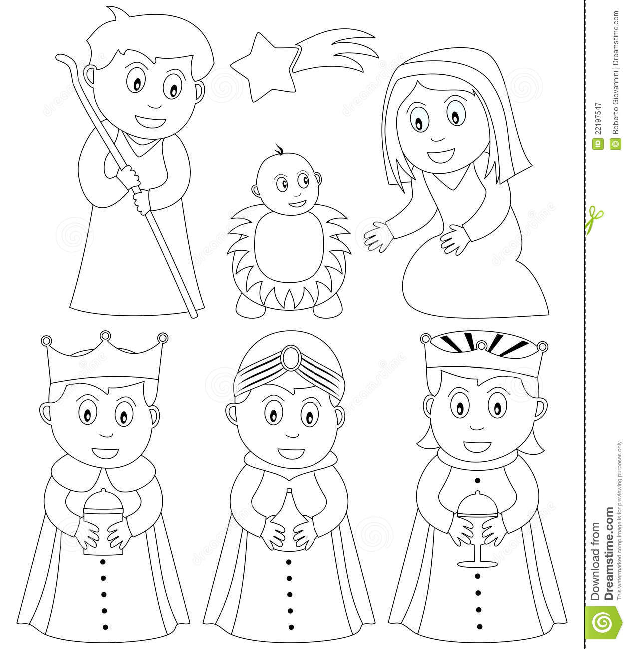 Coloring Christmas Nativity Stock Vector