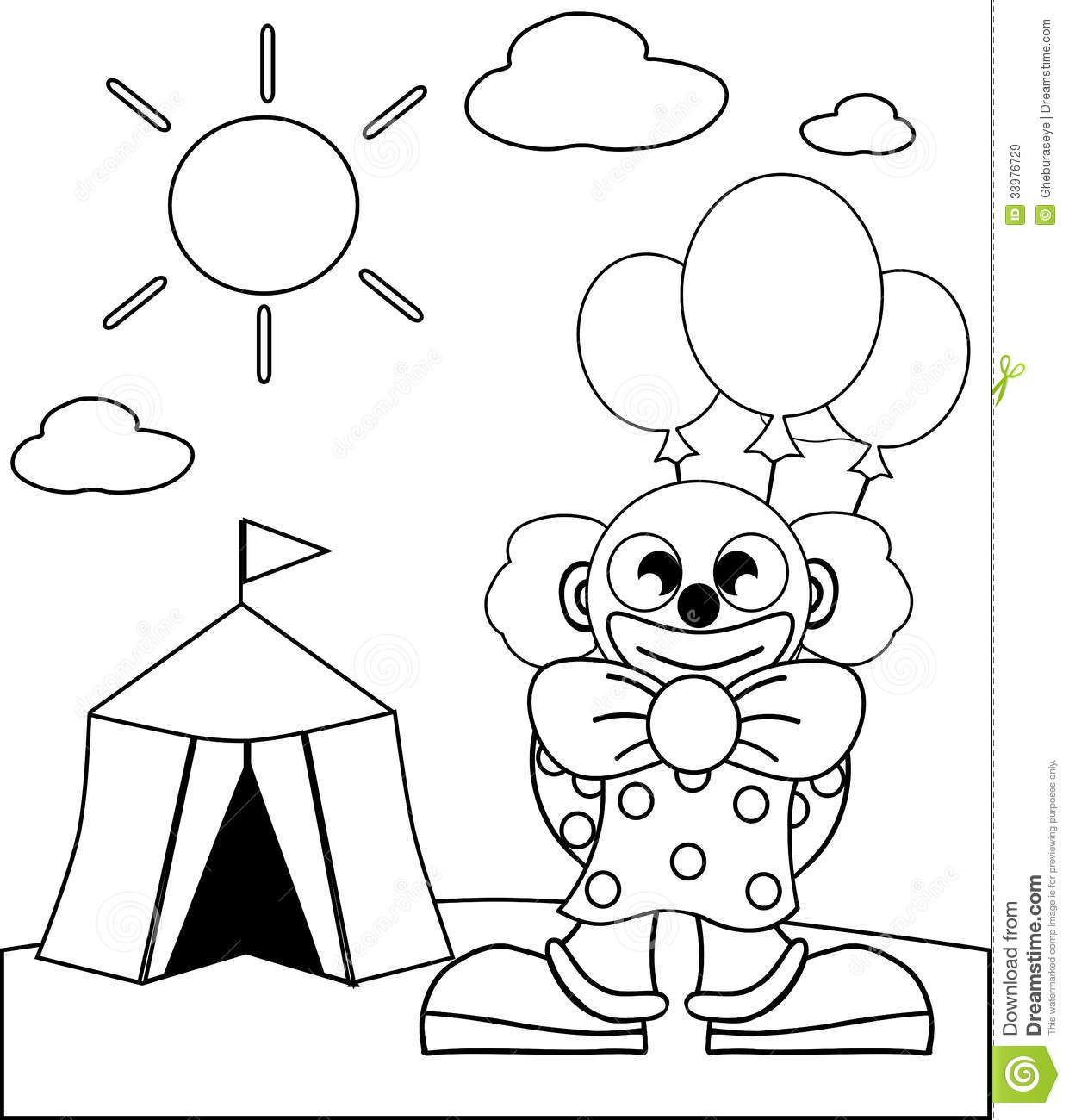 Coloring Clown With Balloons Royalty-Free Stock Photo