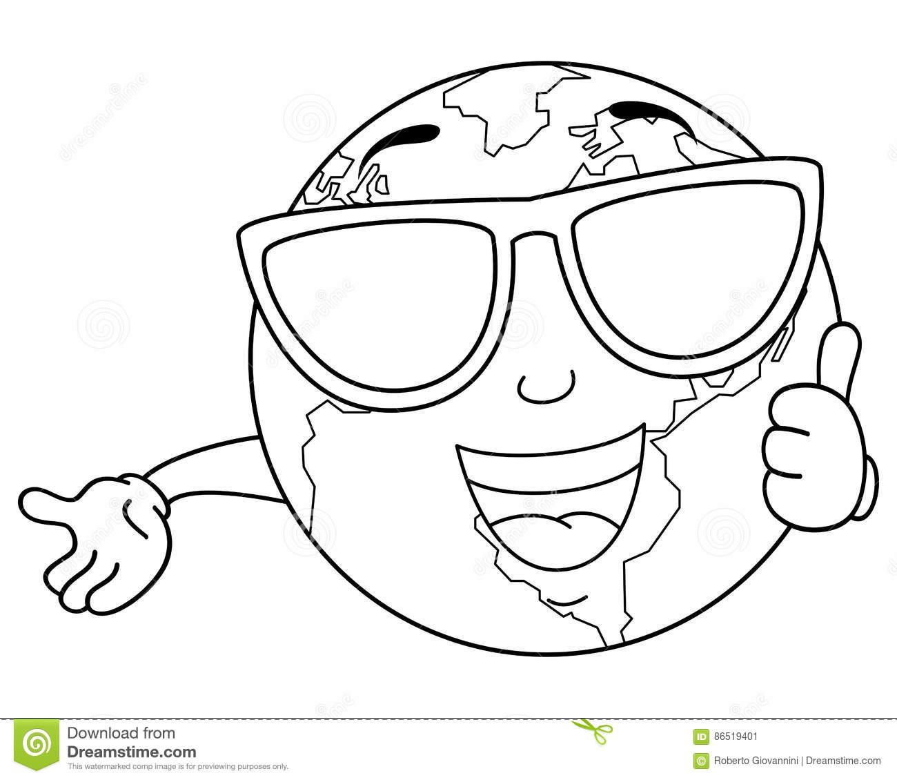 Coloring Cool Planet Earth With Sunglasses Stock Vector