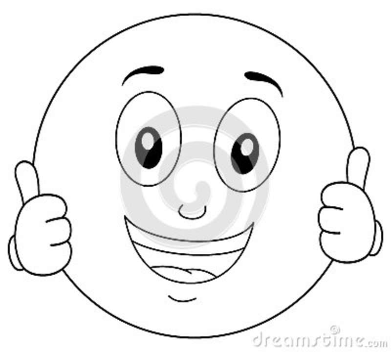 Coloring Cool Smiley Character Thumbs Up Stock Vector