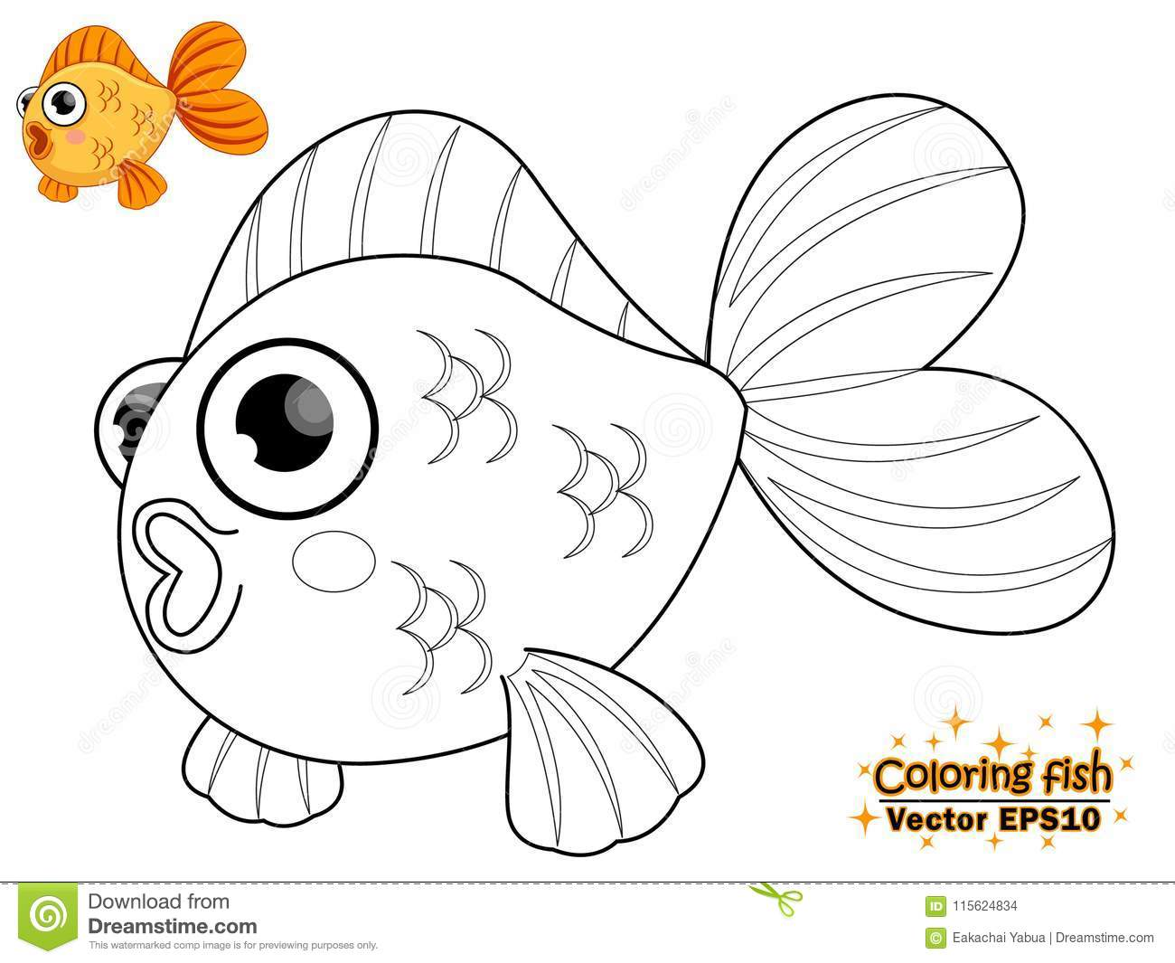 Coloring The Cute Cartoon Fish Educational Game For Kids