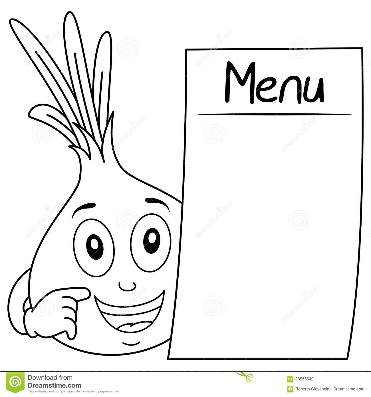 Coloring Cute Onion With Blank Menu Stock Vector