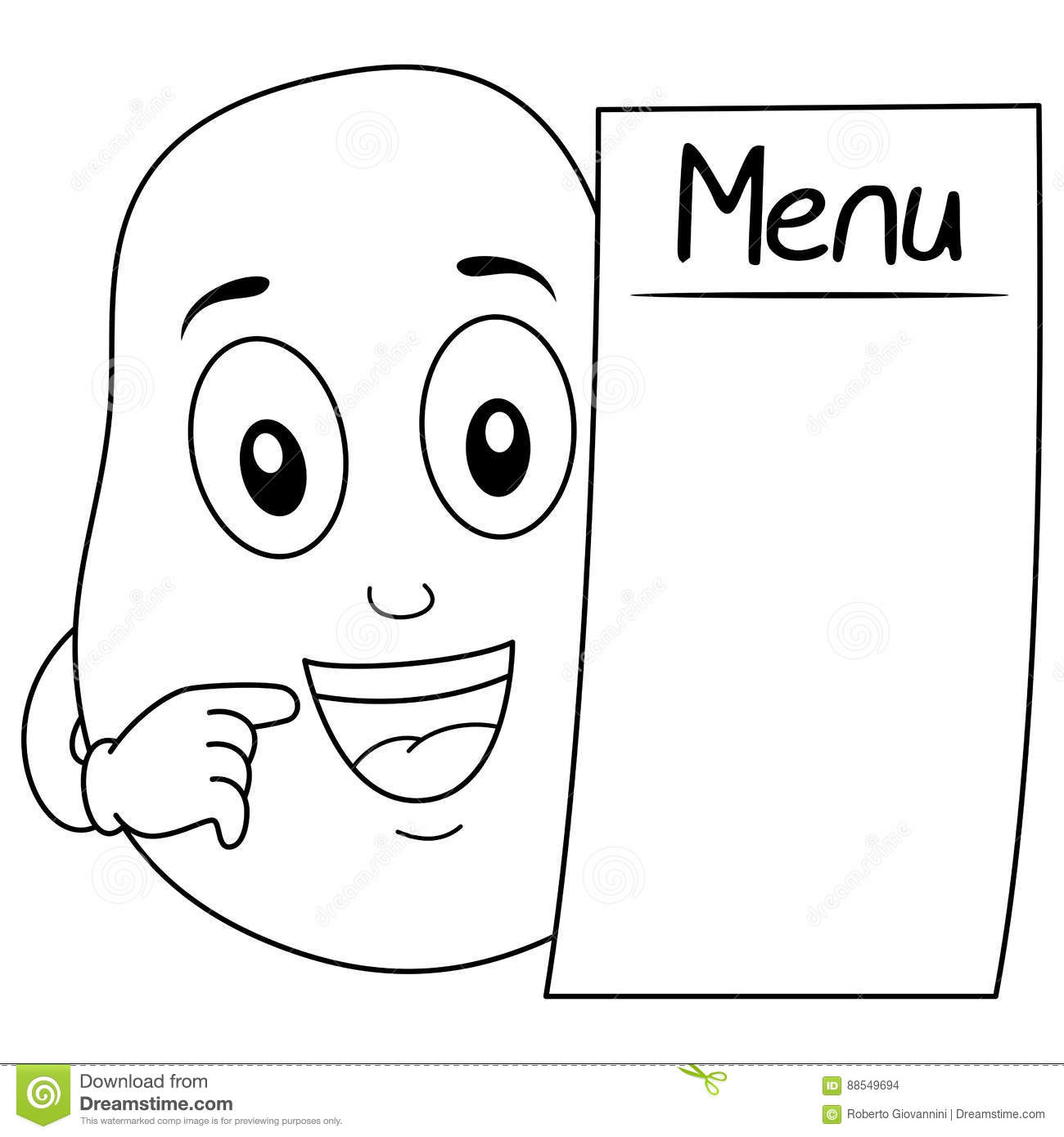 Coloring Cute Potato Character With Menu Stock Vector
