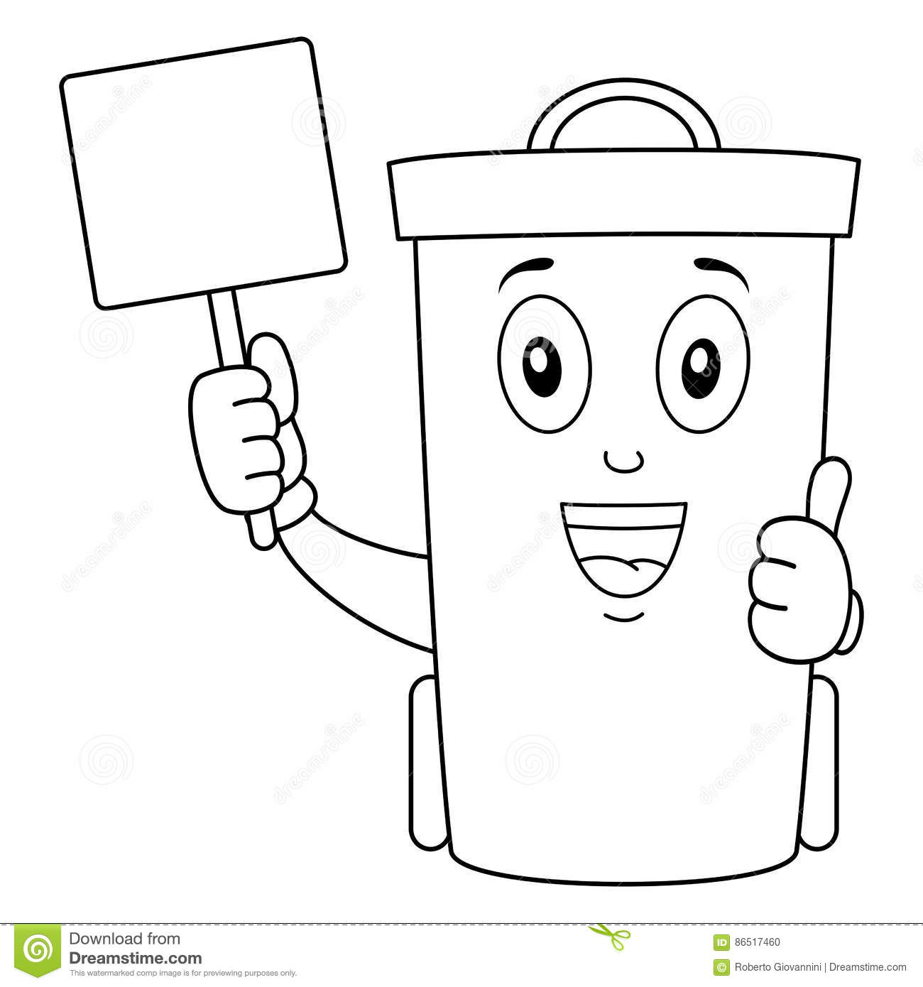 Coloring Cute Trash Can Or Waste Bin Stock Vector