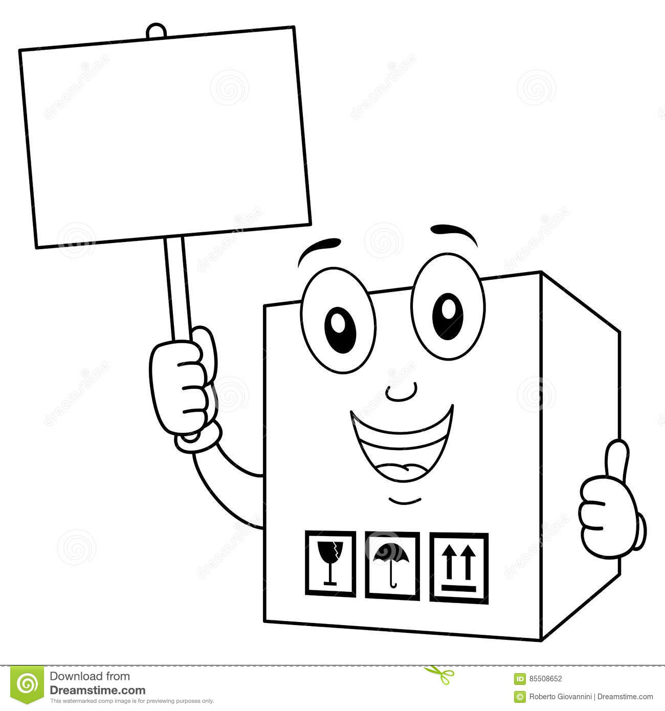 Coloring Delivery Cardboard Box With Sign Stock Vector