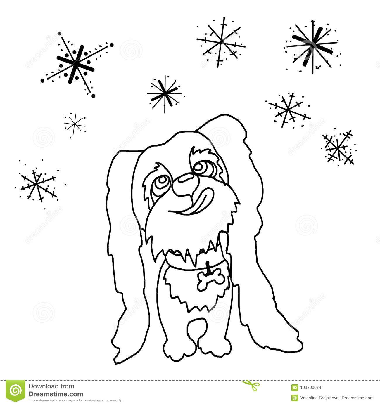 Coloring, Dog, Puppy, Catching Snowflakes Stock