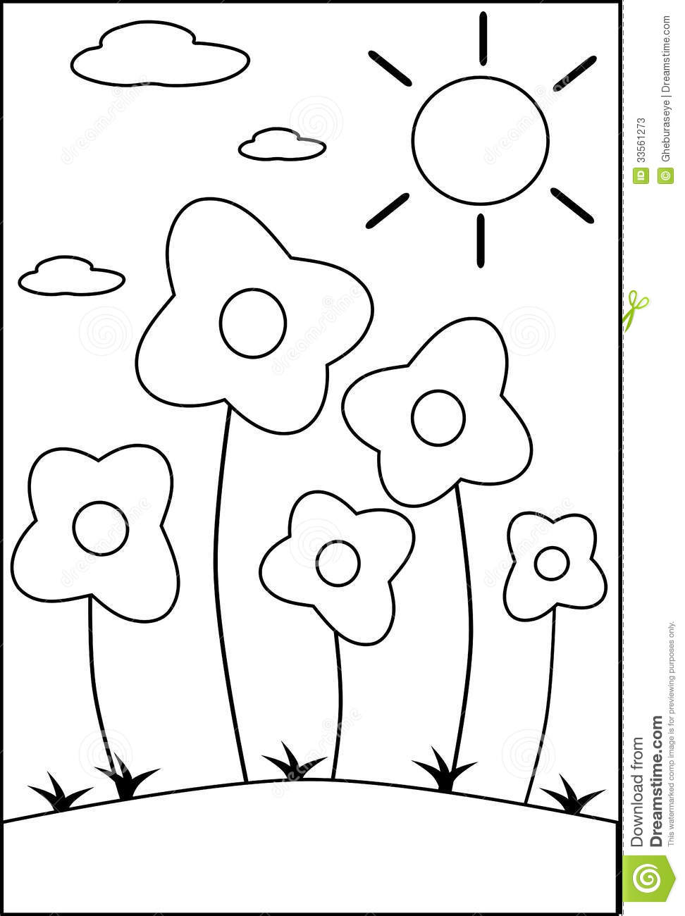 Coloring flowers stock vector. Illustration of flowers