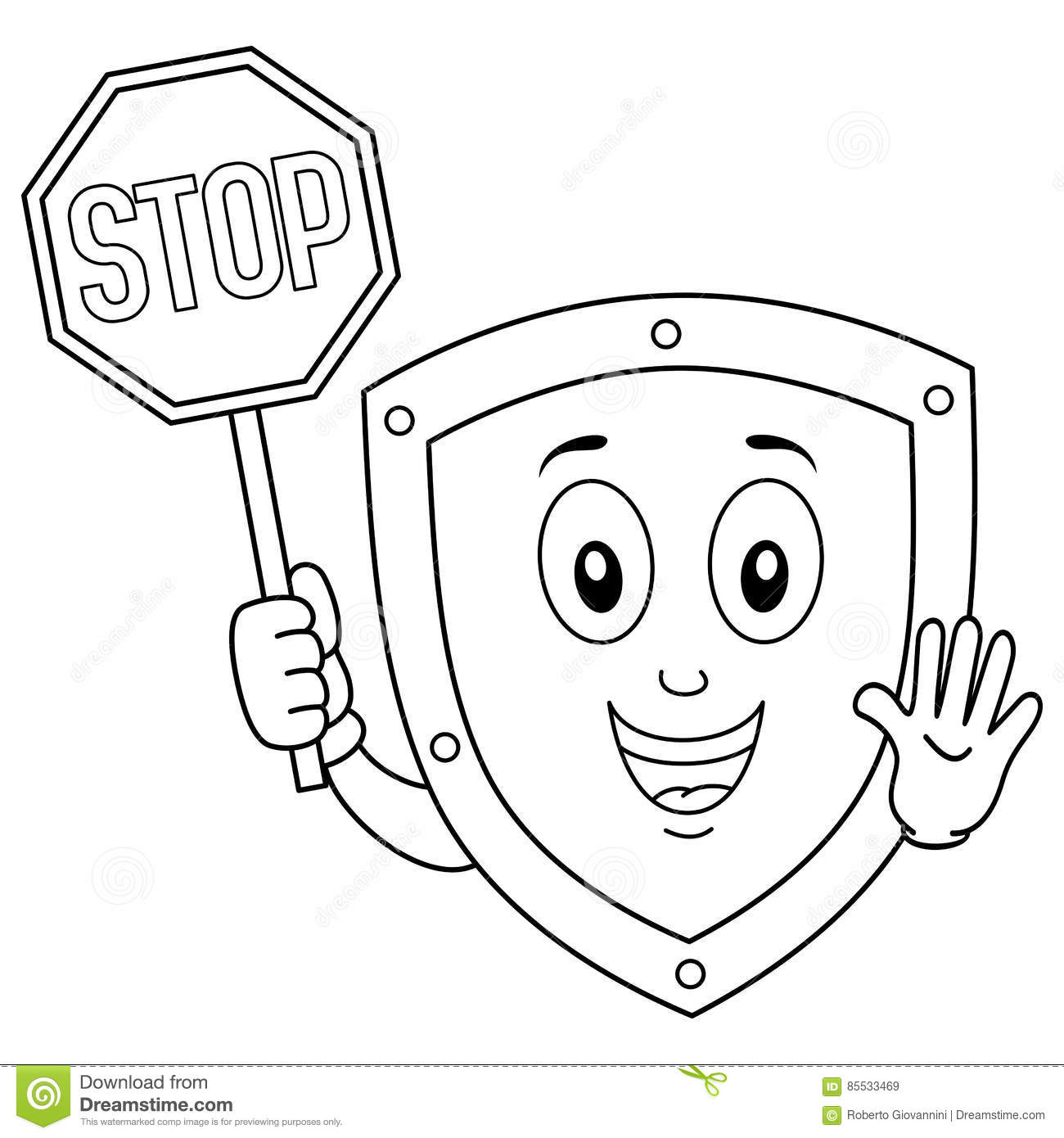 Coloring Funny Shield Holding Stop Sign Stock Vector