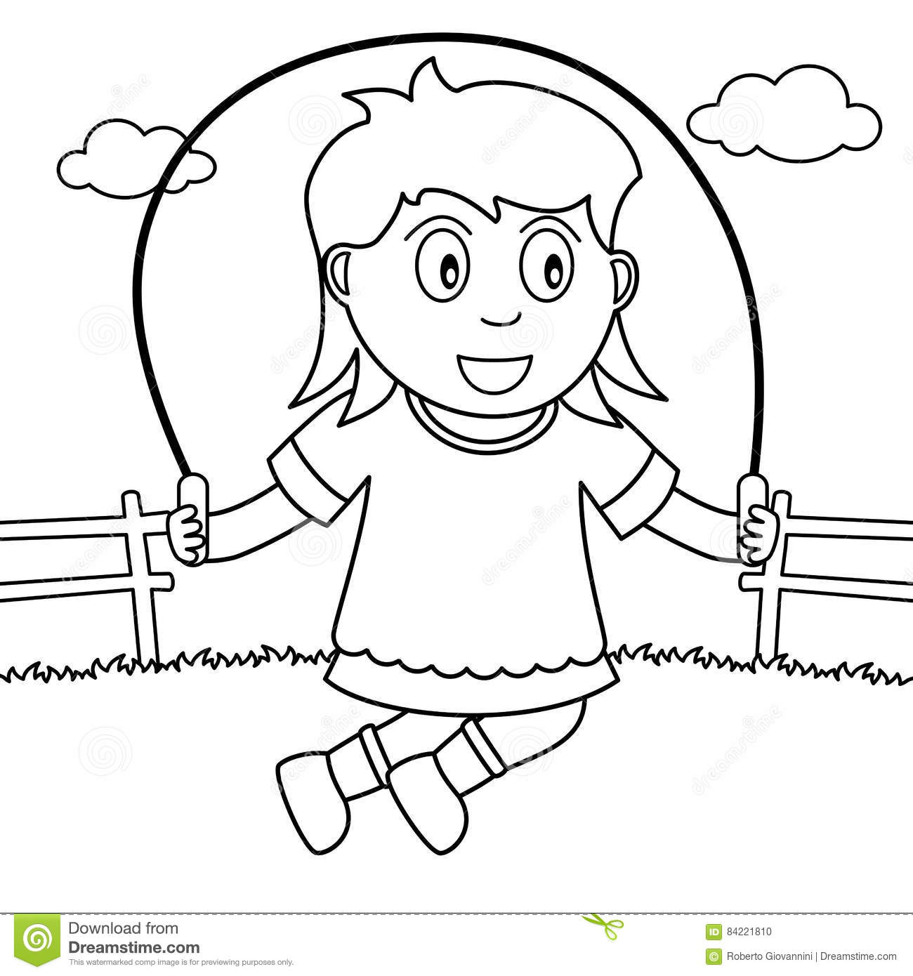 Coloring Girl Skipping With Rope In The Park Stock Vector