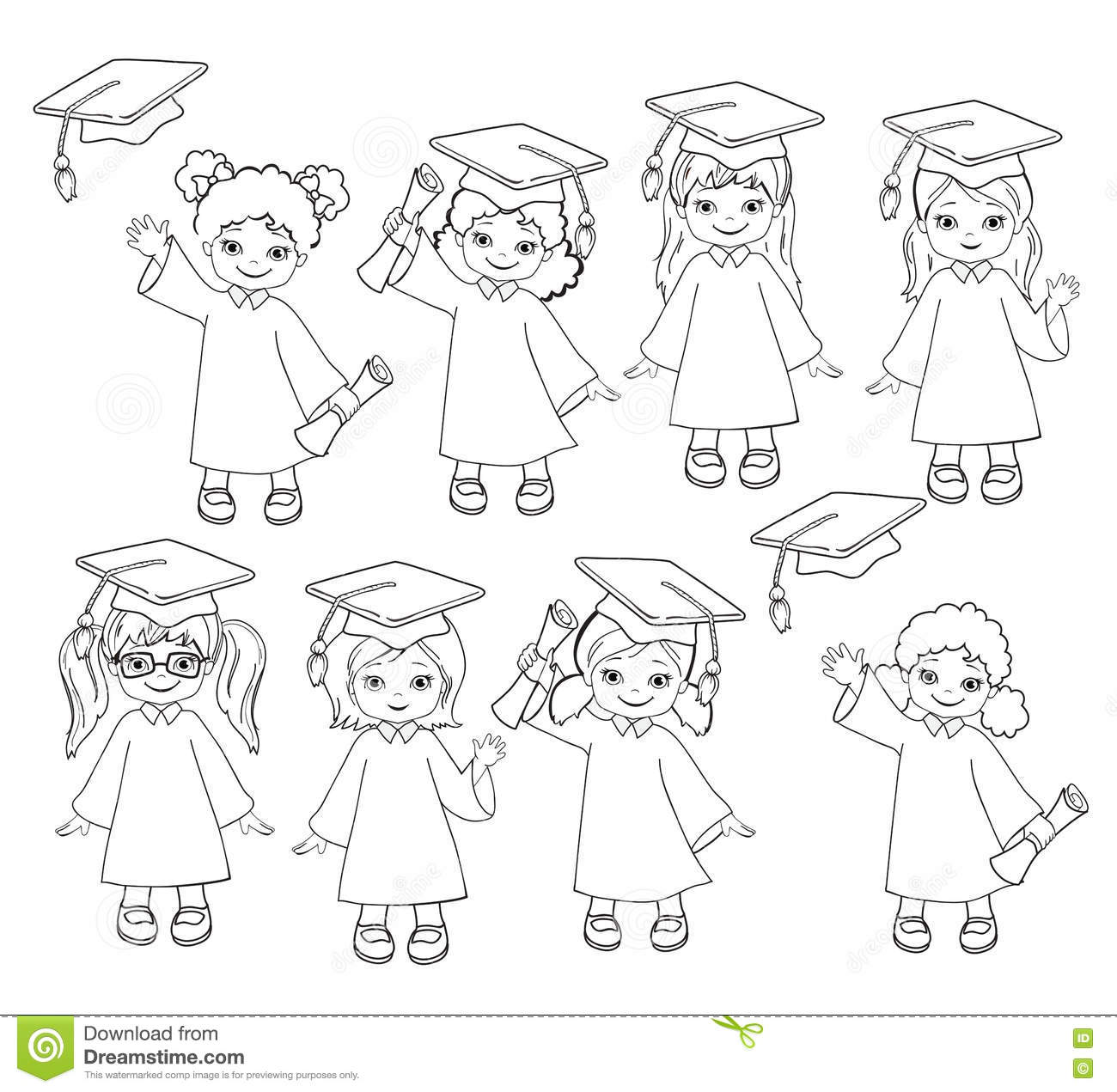 Coloring. Girls. Set Of Children In A Graduation Gown And