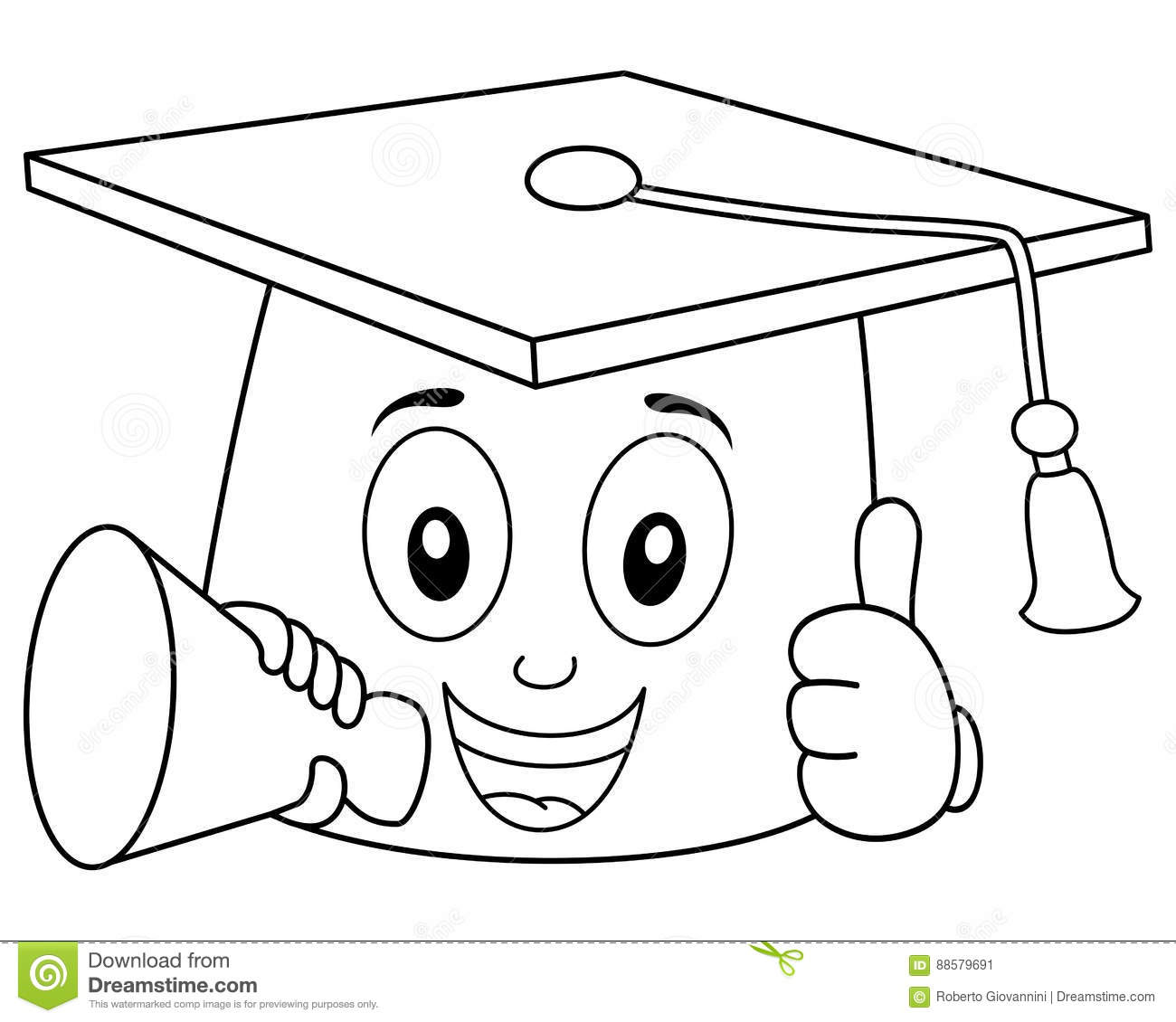 Coloring Graduation Hat With Megaphone Stock Vector