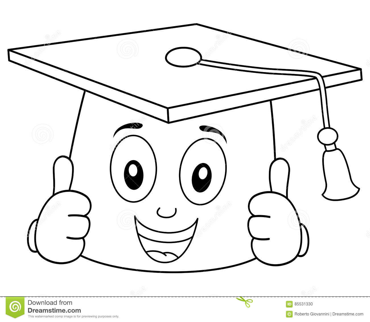 Coloring Graduation Hat With Thumbs Up Stock Vector