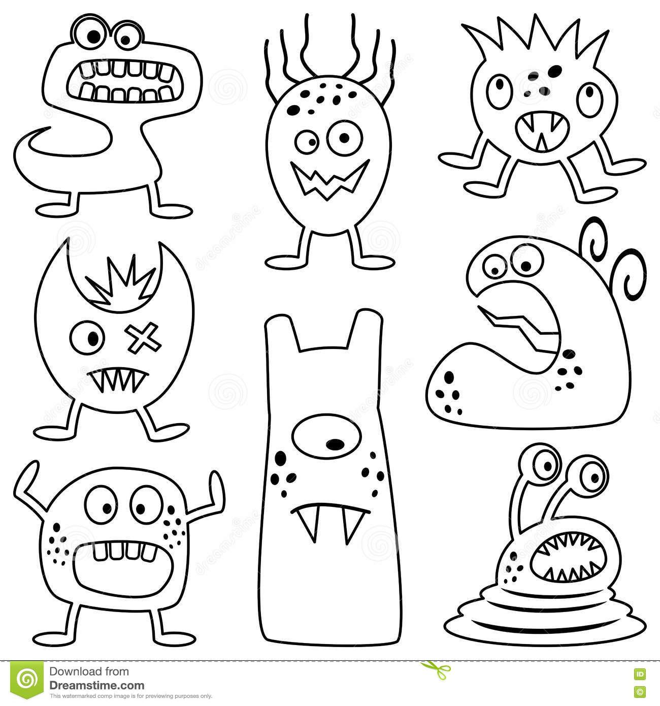 Coloring Halloween Monsters For Kids Stock Vector