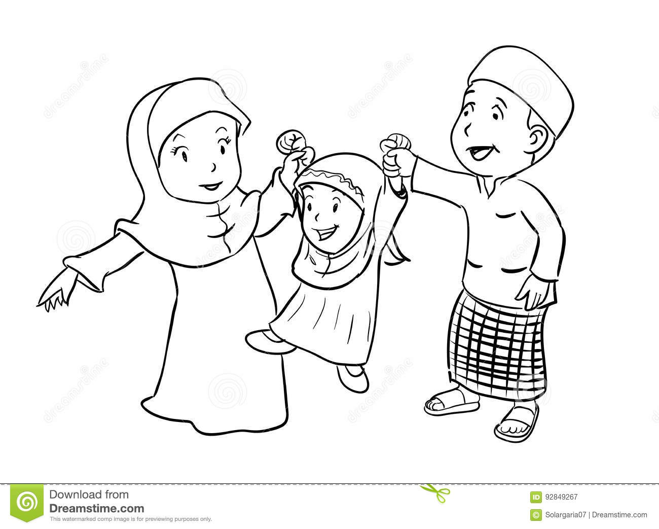 Coloring Happy Muslim Family