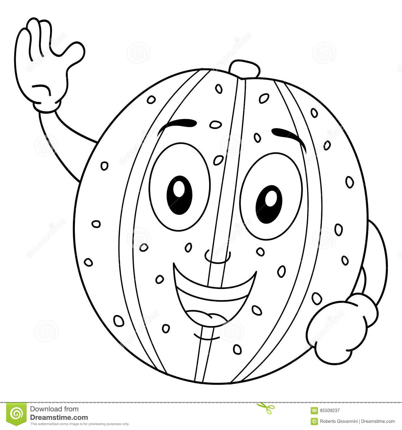 Coloring Happy Yellow Melon Character Stock Vector