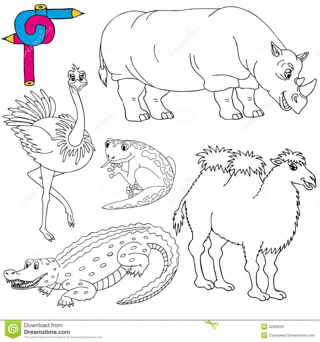 Coloring Image Wild Animals 02 Royalty Free Stock