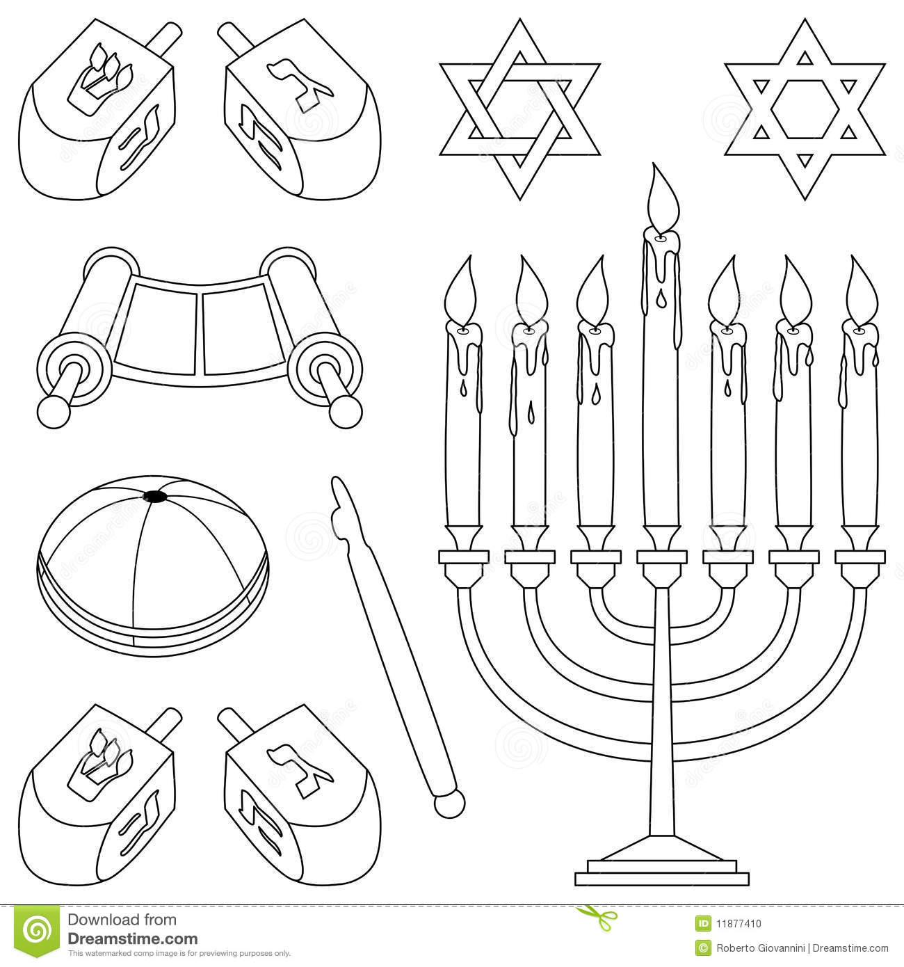 Coloring Judaism Elements Stock Photo