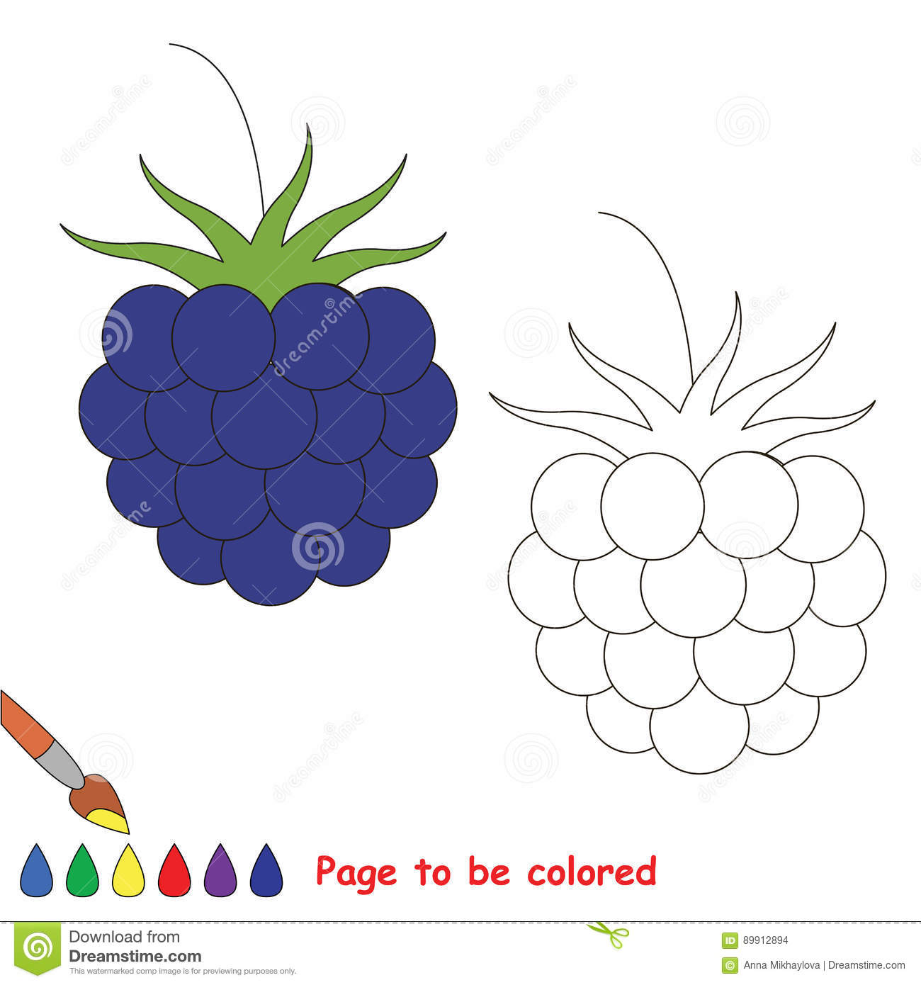 Coloring Kid Game Educational Page To Be Colored Stock