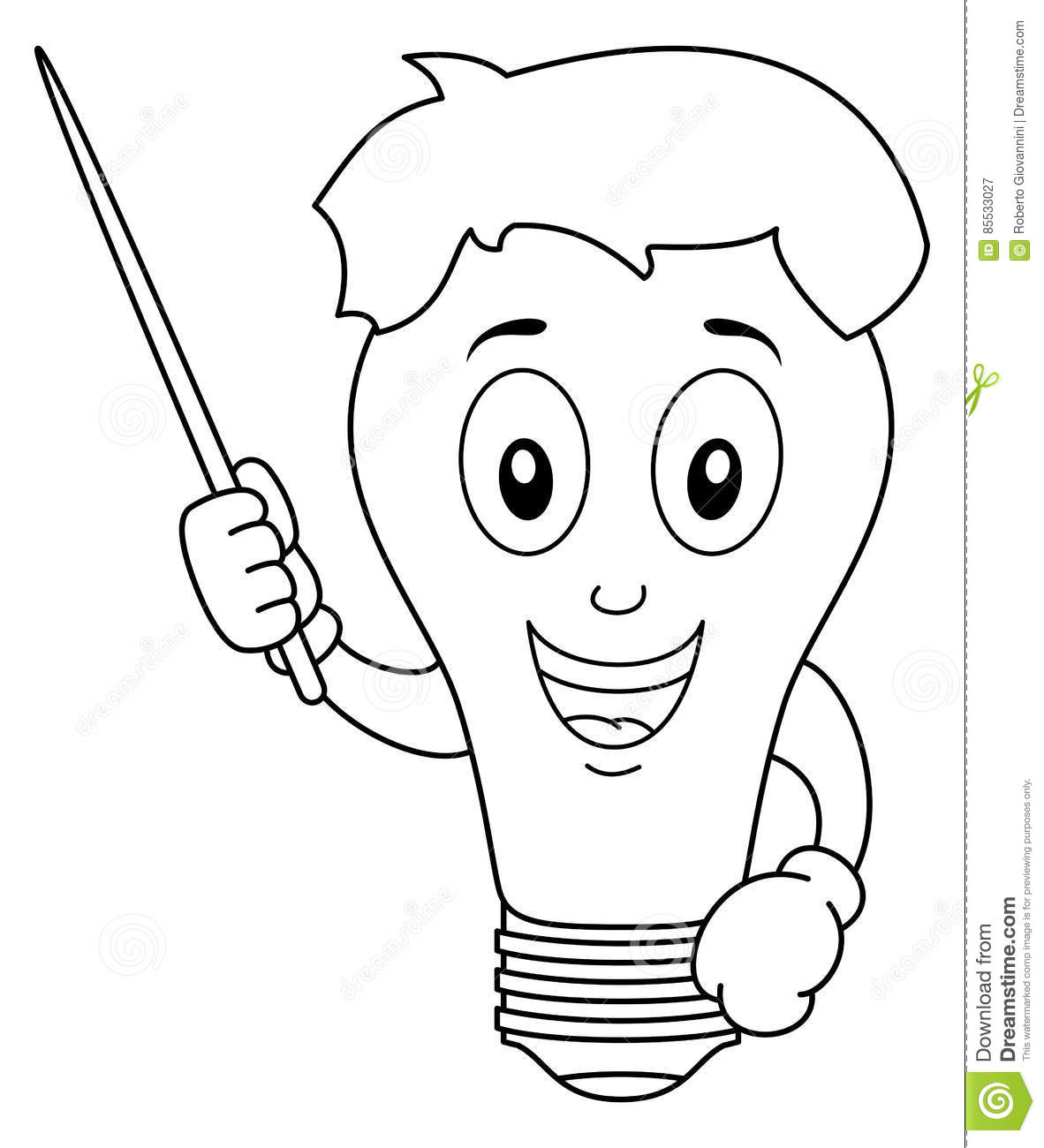 Coloring Light Bulb Character With Pointer Stock Vector
