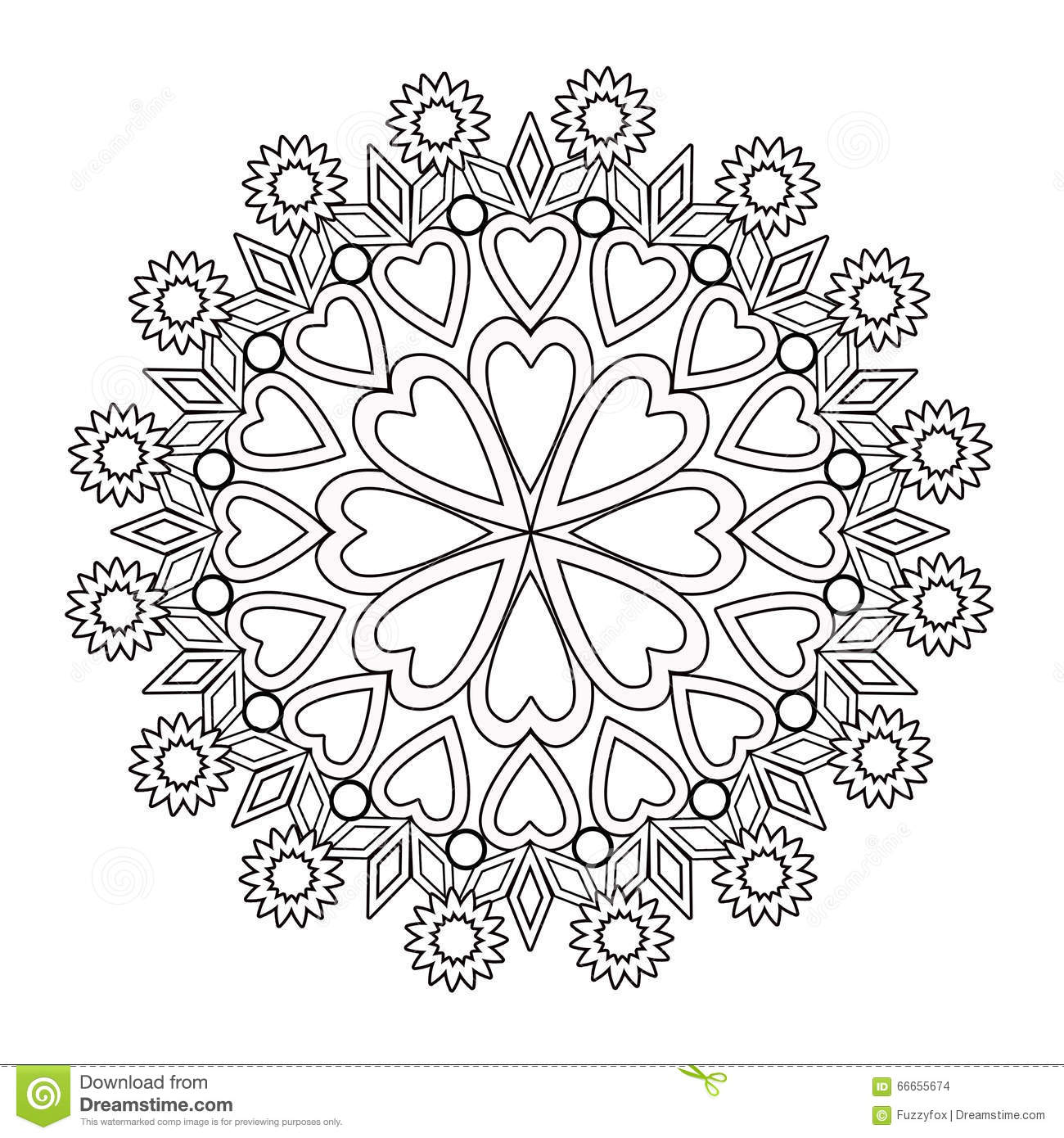 Coloring Page Adult Book. Floral Illustration Black And