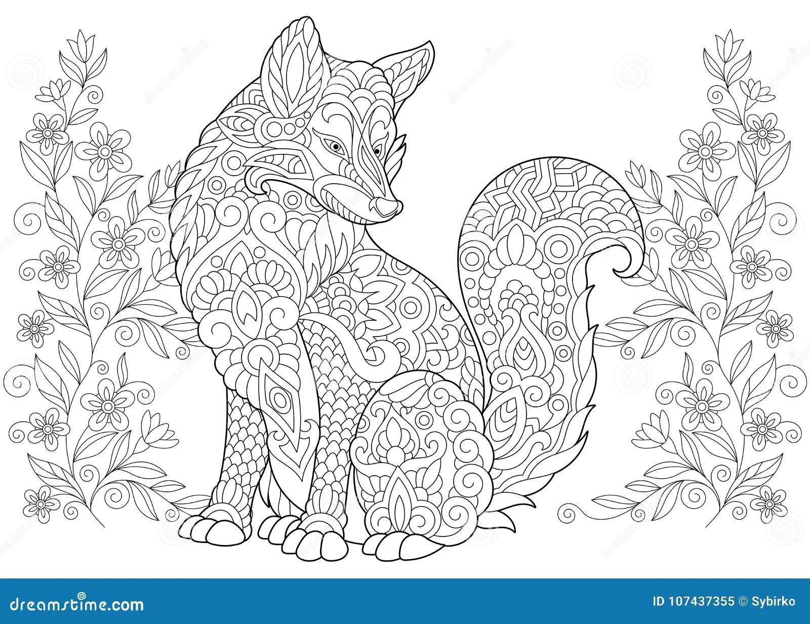Zentangle Wild Fox And Wildflowers Stock Vector