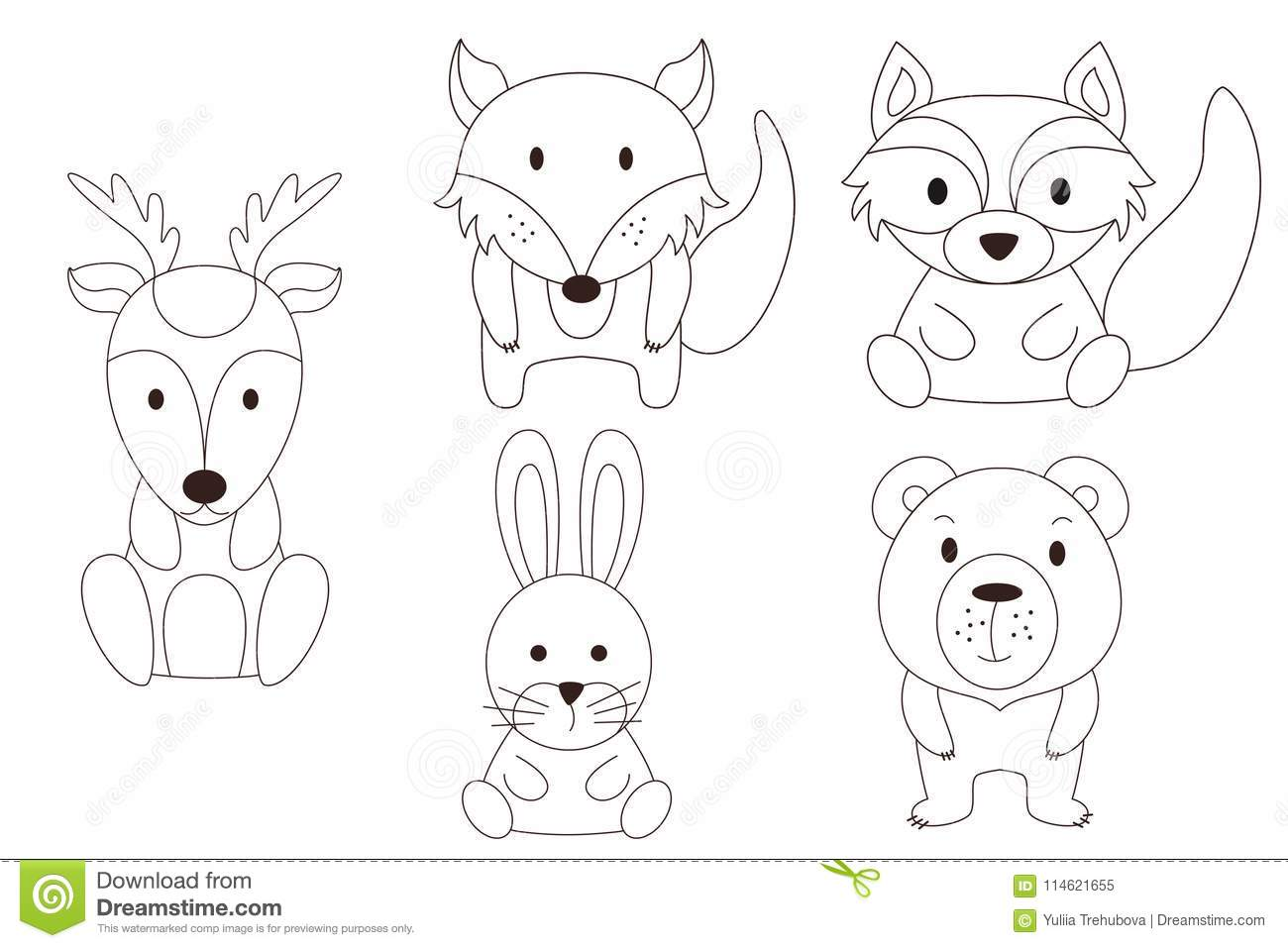 Coloring Page With Animal Wild Deer And Raccoon Rabbet