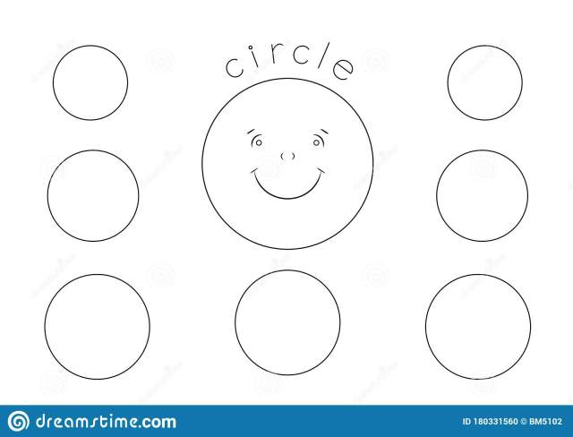 Circle Shape Coloring Page for Kids, Outline Drawing Stock