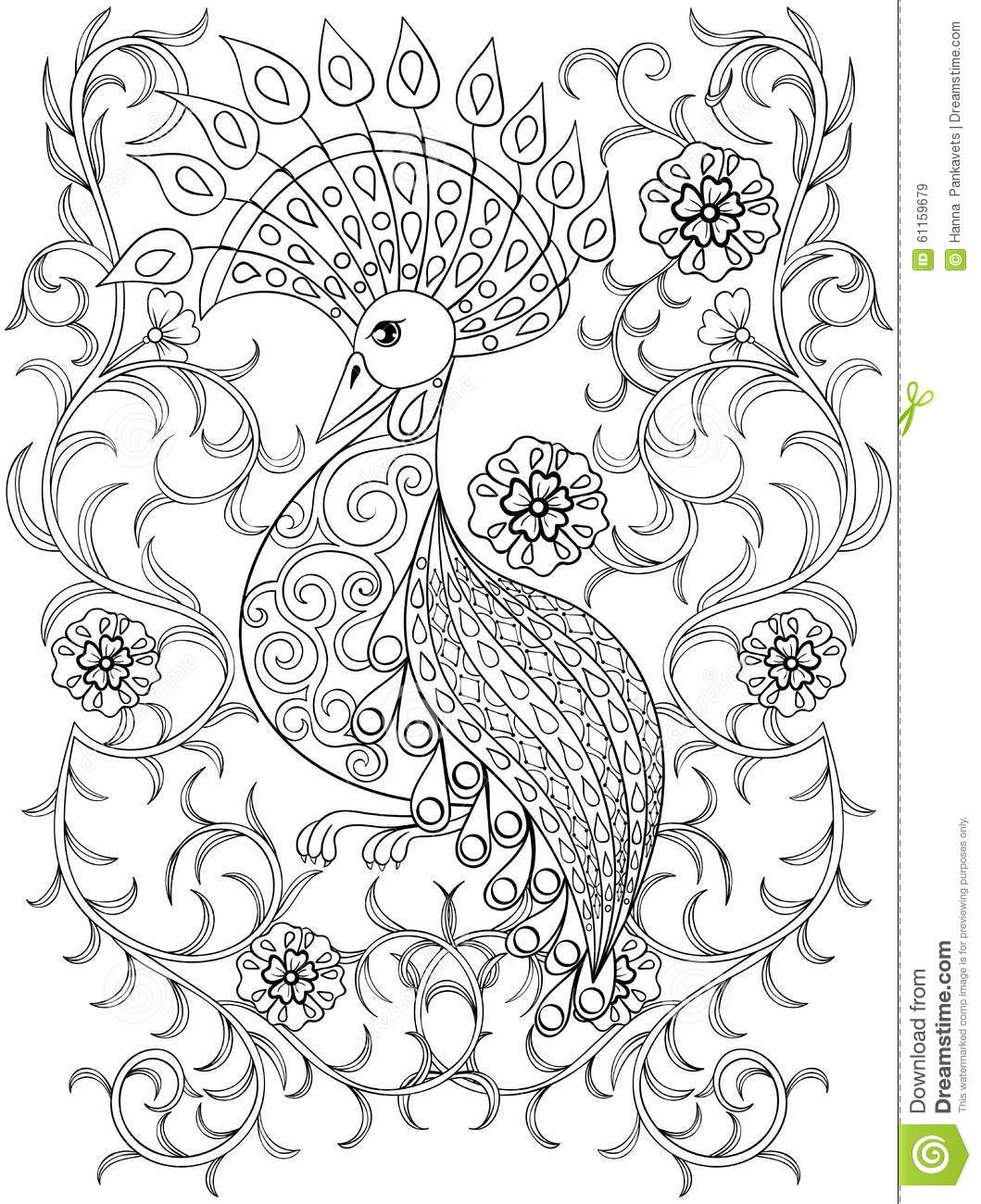 Coloring Page With Bird In Flowers, Zentangle Illustartion