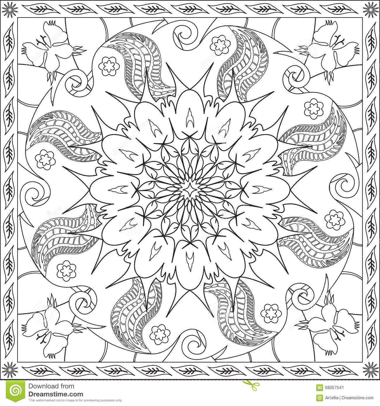 Coloring Page Book For Adults Square Format Mandala Flower