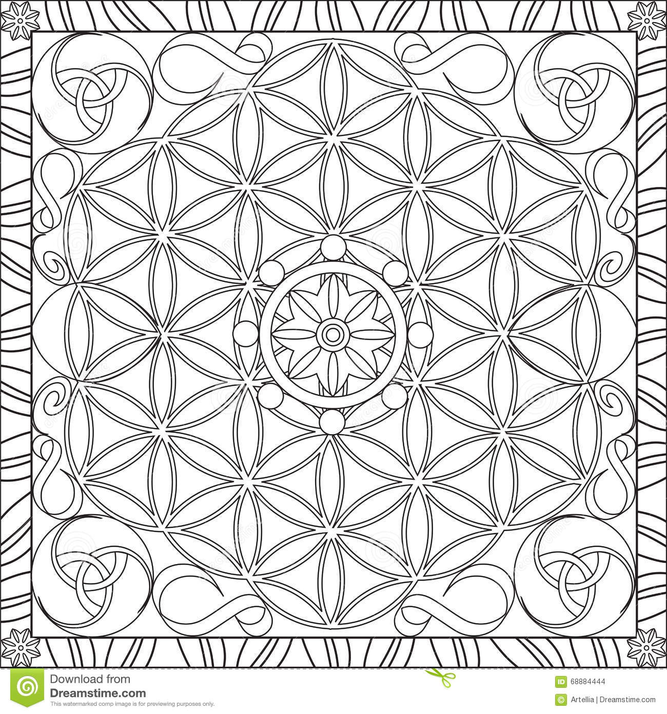 Decorate Wall With Mandala Coloring Book Detail Zentangle Wolf For