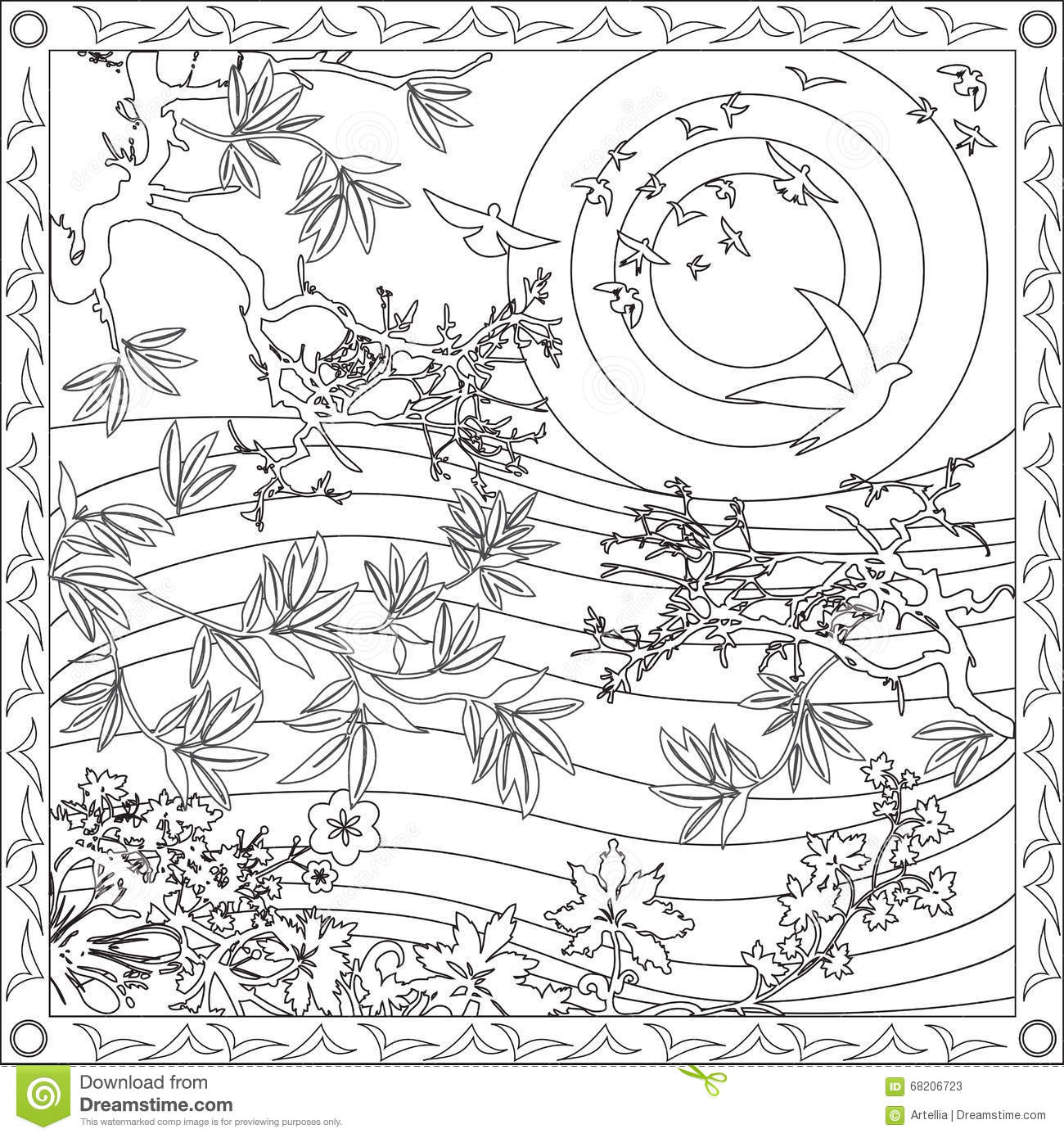 Coloring Page Book For Adults Square Format Japanese Style