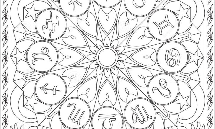 Stock illustration coloring page book adults square format zodiac icons wheel mandala design vector image photos of chinese animals for androids full hd pics signs