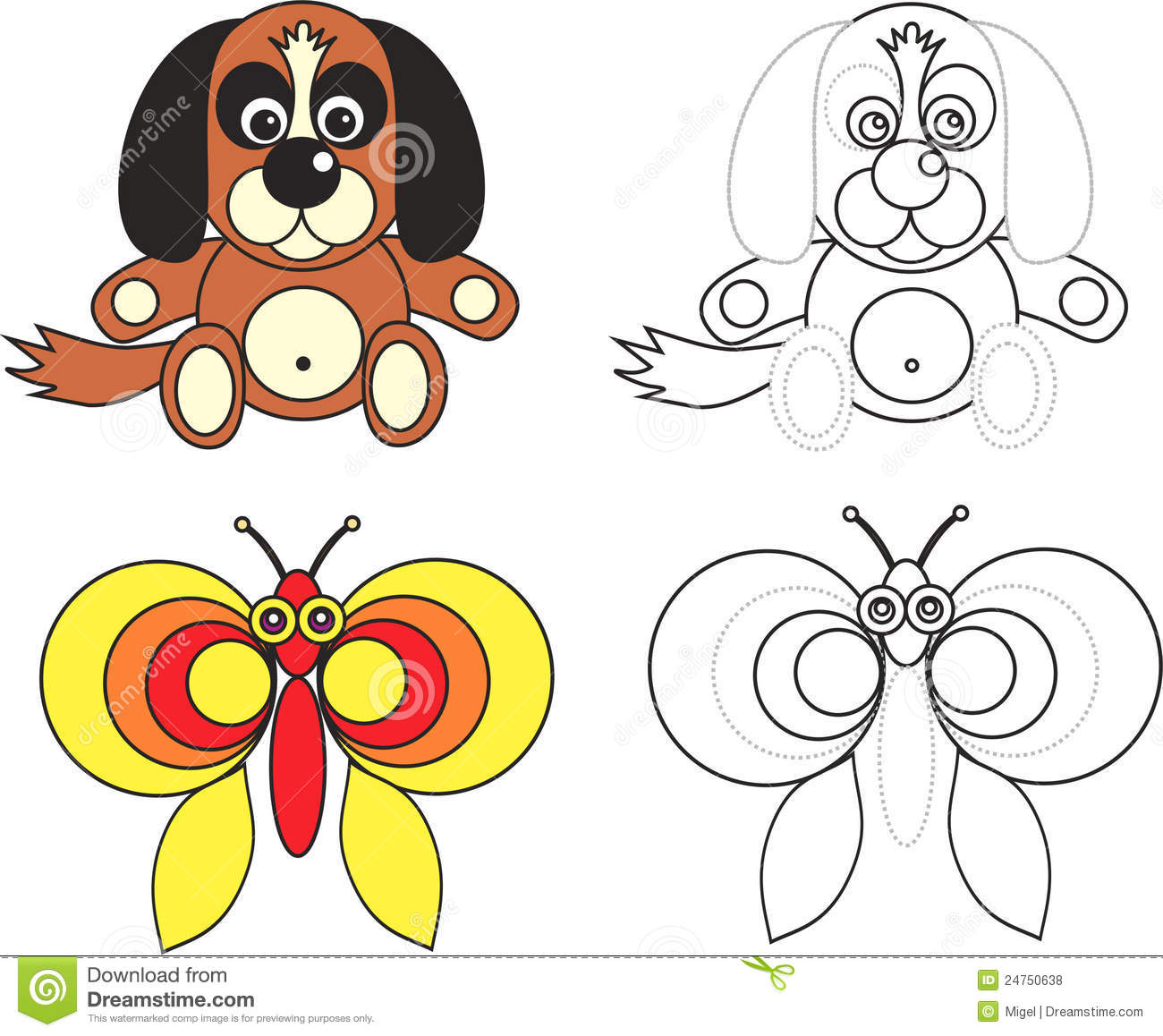 Coloring Page Book For Kids Dog And Butterfly Royalty Free Stock Photos