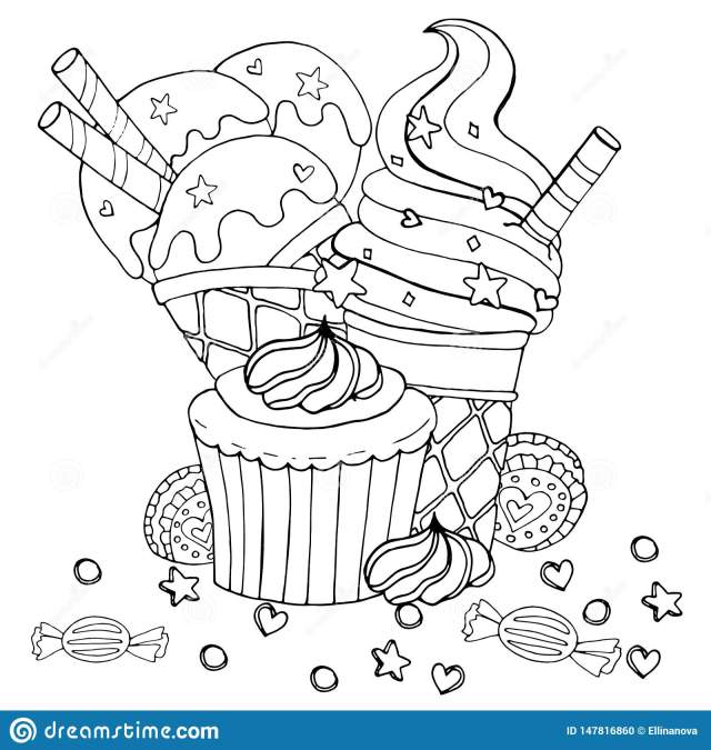 Coloring Page with Cake, Cupcake, Candy, Ice Cream and Other