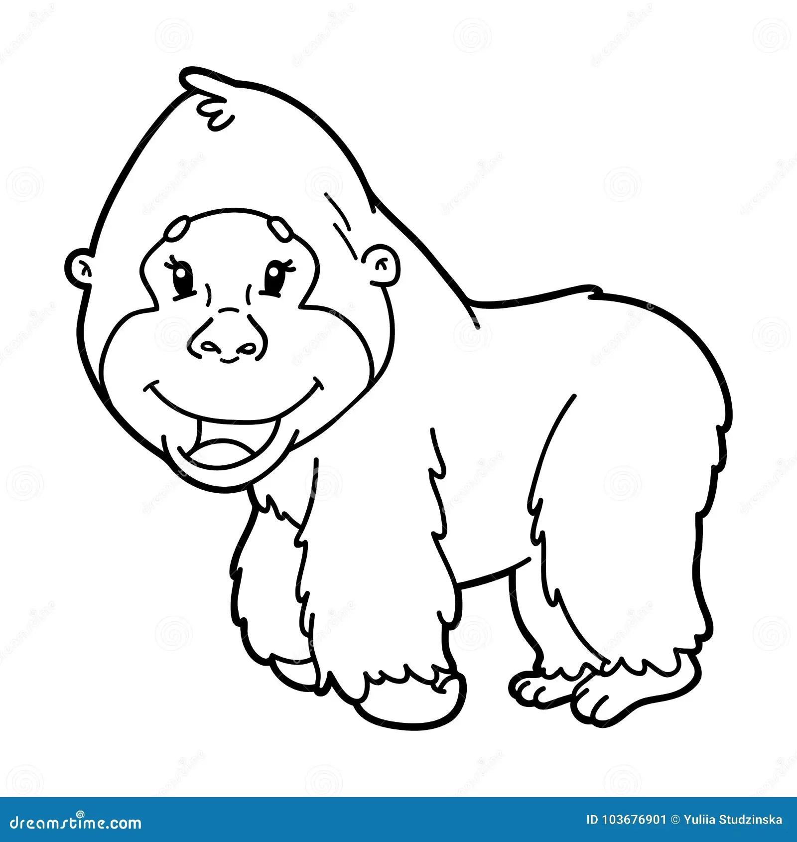 Coloring Page Cartoon Gorilla Stock Vector