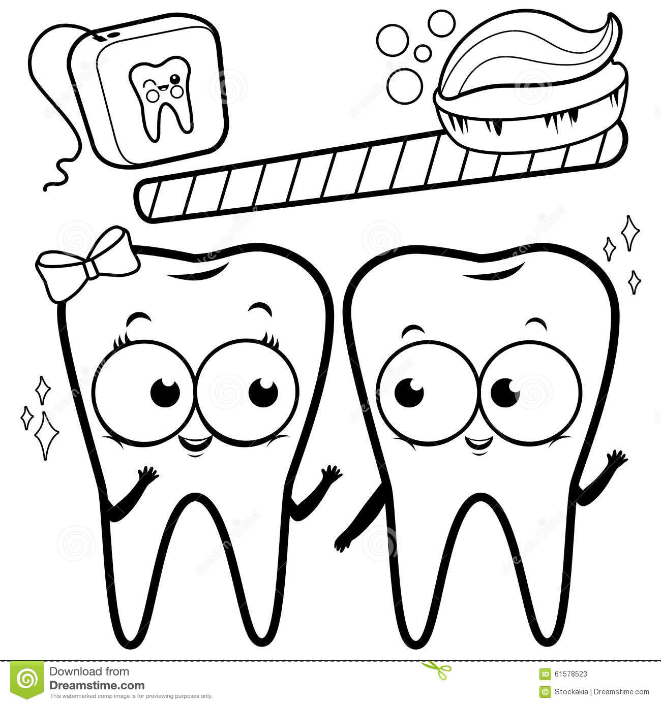 Coloring Page Cartoon Teeth With Toothbrush And Dental