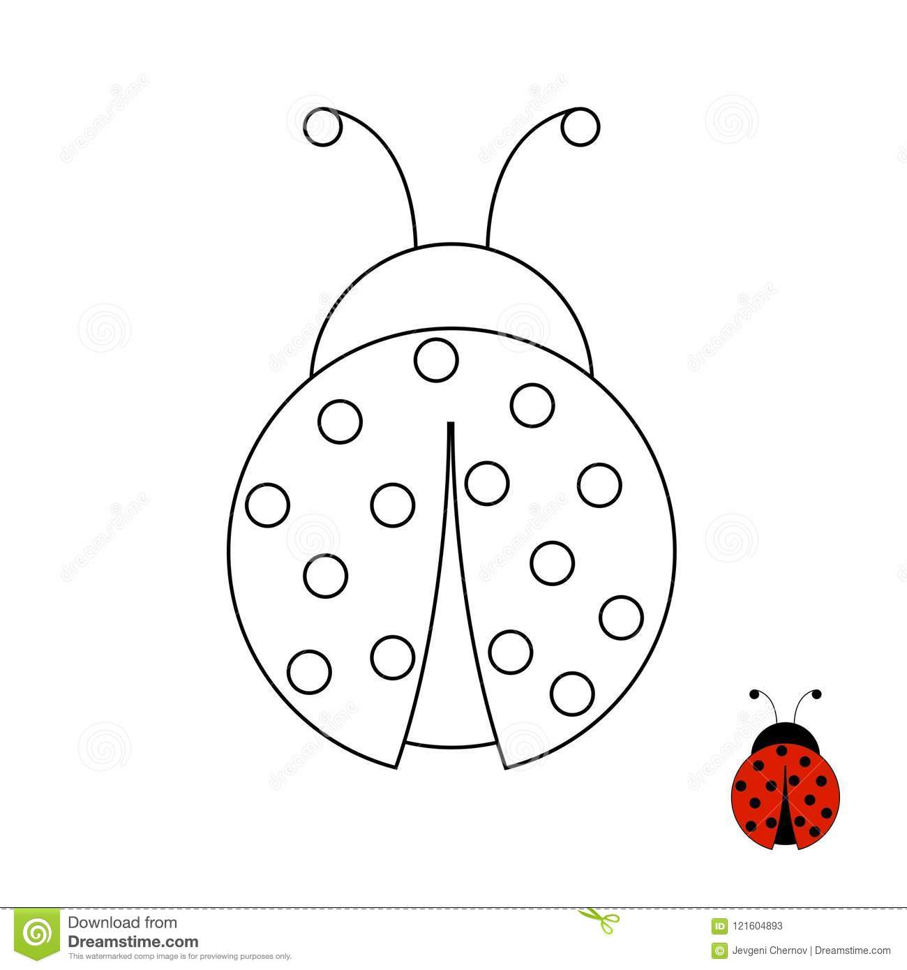 Coloring Page For Children Ladybug Stock Vector